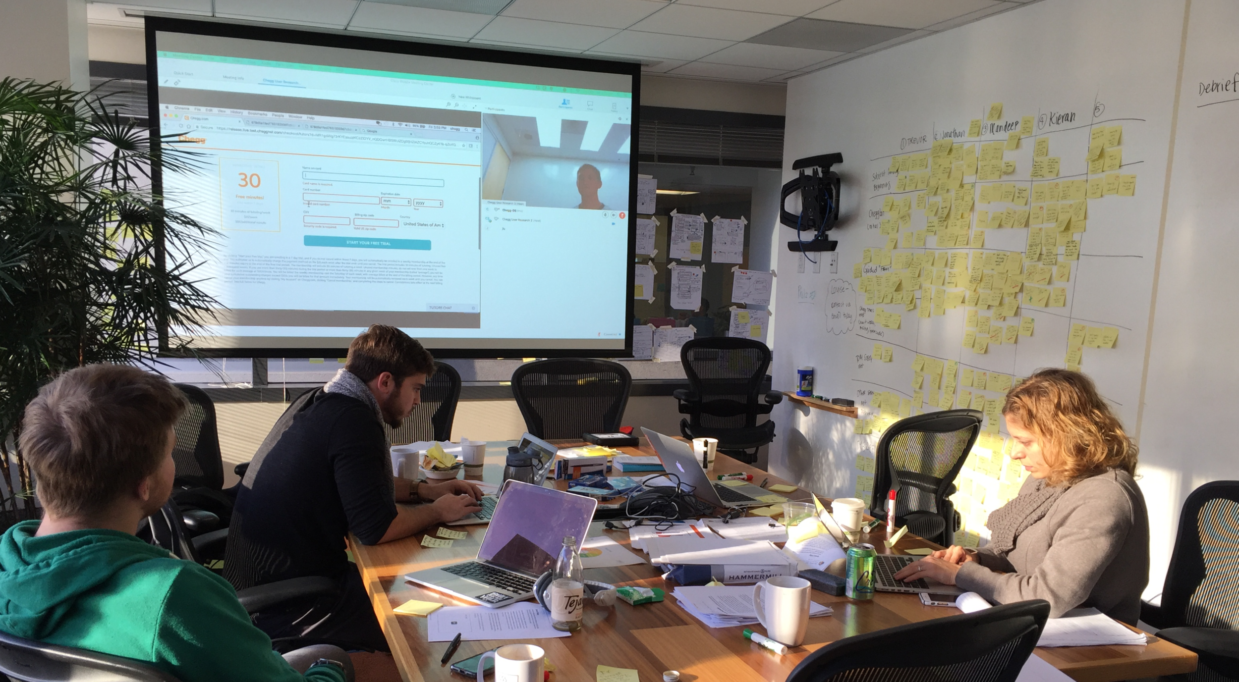 user research - Tested the prototype with five users and learned that some were fine with chatting with chatbot, but all just really wanted to talk to a tutor, or a human.Shared notetaking (on the right wall) is a really cool way to internalize findings as a group!
