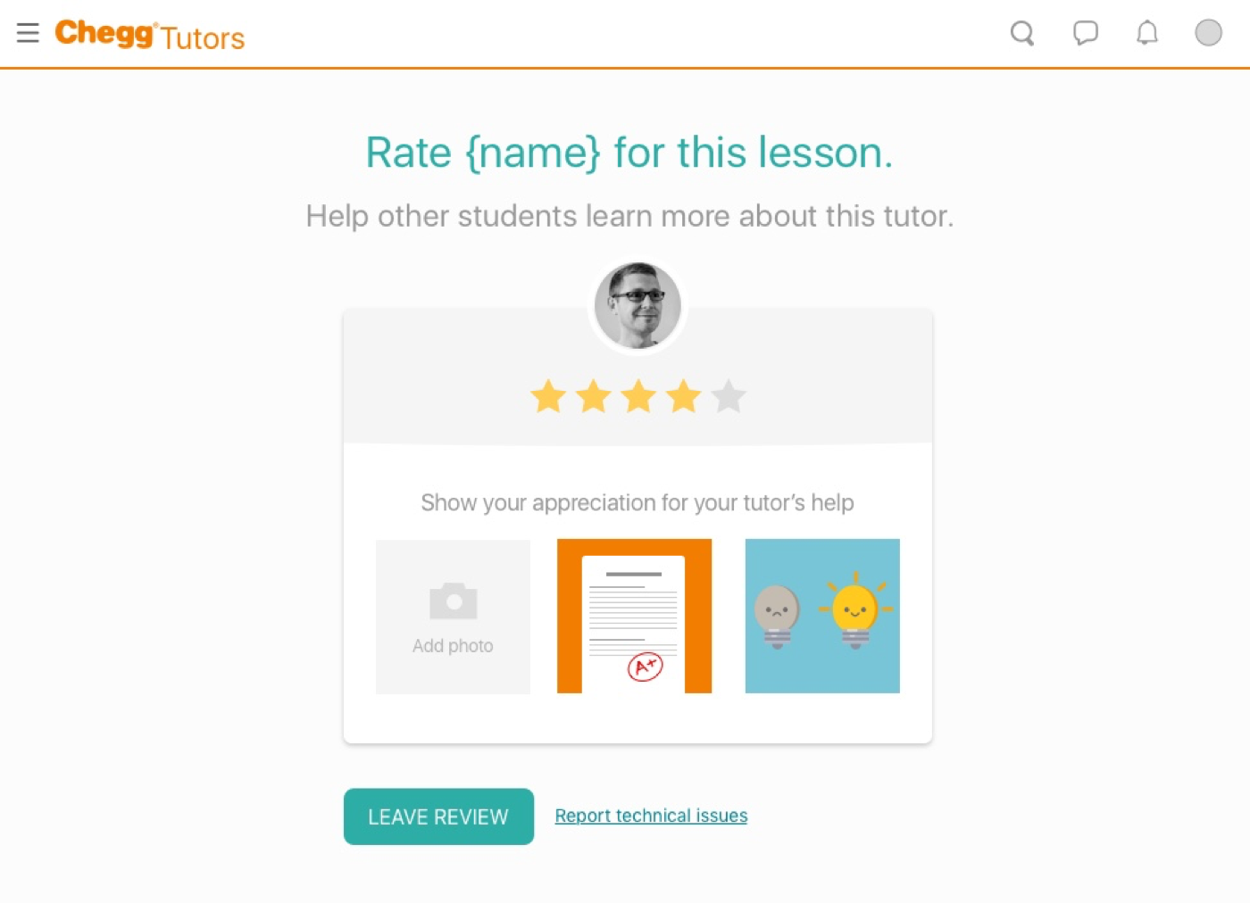 a future state - Instead of adding subcategories to dig into what worked well and didn't in a student review, it'd be interesting to test a more interactive way of getting in-depth feedback, such as adding a photo of your grade or a selfie of how much happier you are after getting help.Also think it'd be a good next step of how to explore the five-star interactions and simplifying with less text.