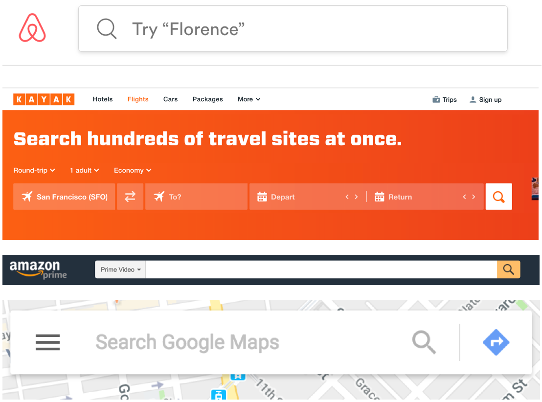 inspiration - Looked at a variety of minified search inspiration to try and design a more lightweight approach for users to get matched. Airbnb's old model of search was a key inspiration.