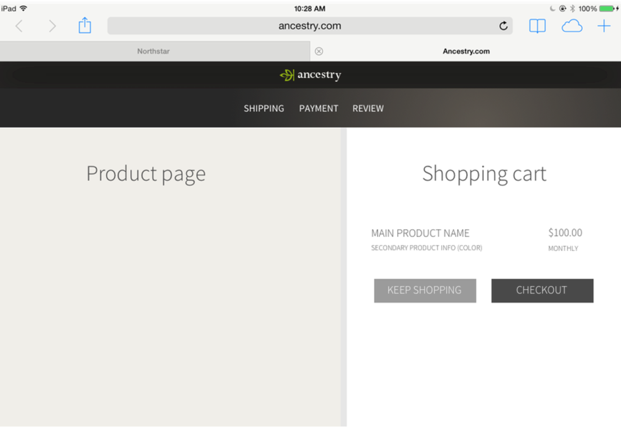 version B, sidebar - Explored allowing users to check out on top of product pages, so it was a more connected experience and users could pay in-context