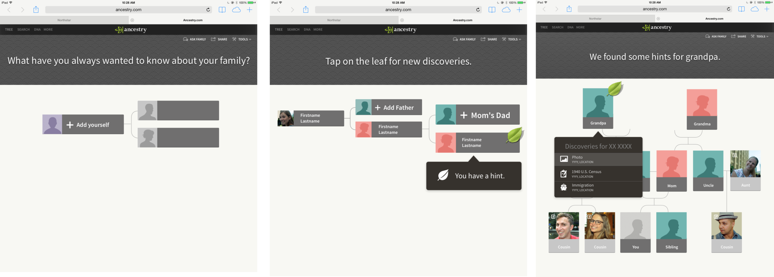 desktop - Iterated on different ways to explore family trees and offer in-context guidance.