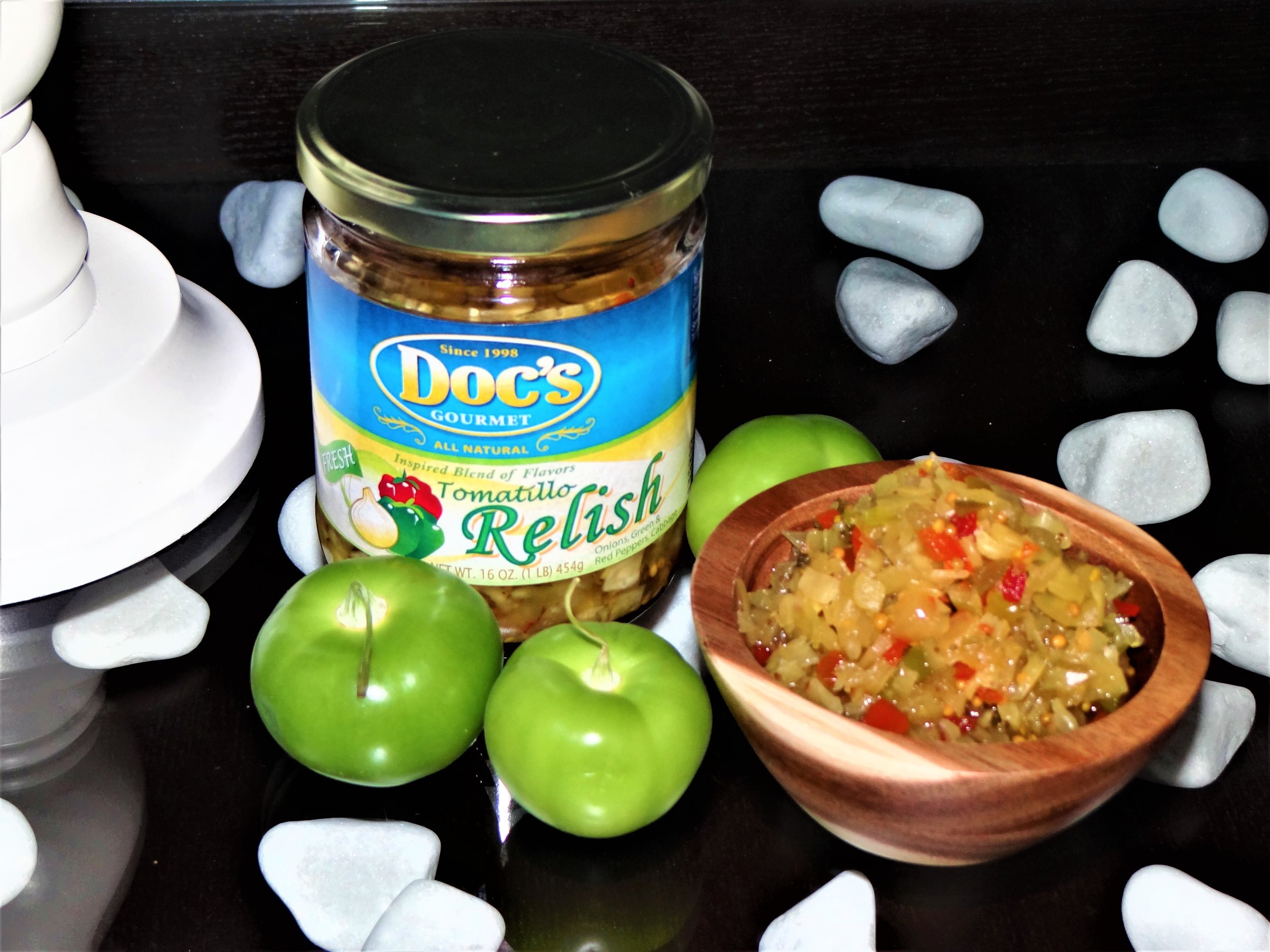 Doc's Gourmet Tomatillo Relish - Doc's Tomatillo Relish is a gourmet product in a class of its own.Use it to replace every relish need you have; from hot dog topping, to your favorite tuna and potato salads.Keep this special product under lock and key... Once your family and friends taste this relish, it may go missing.#AllNatural#GlutenFree#NoHighFructoseCornSyrup