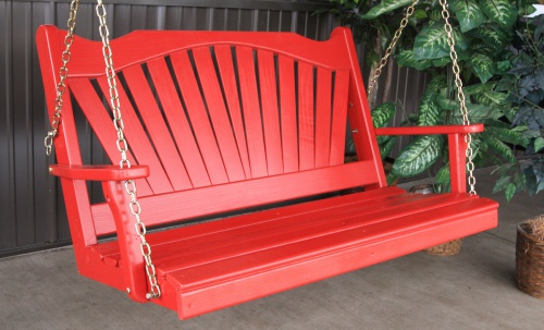 Red painted porch swing