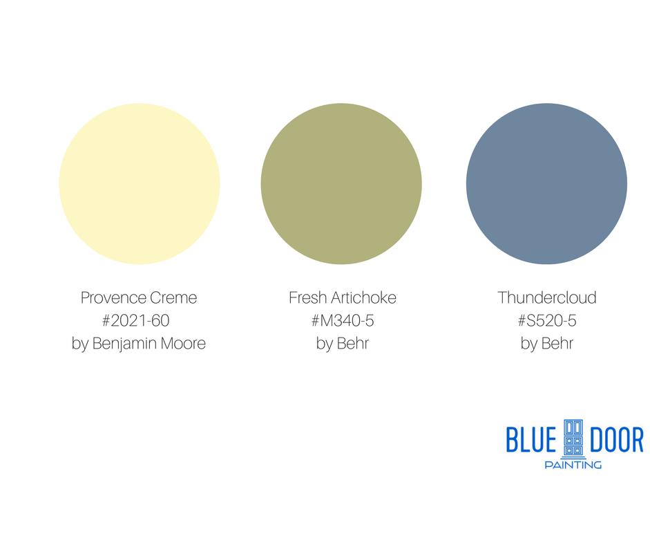 Blue Door Painting Benjamin Moore Provence Creme 2021-60 Fresh Artichoke M340-5 Behr Thundercloud S520-5 Behr