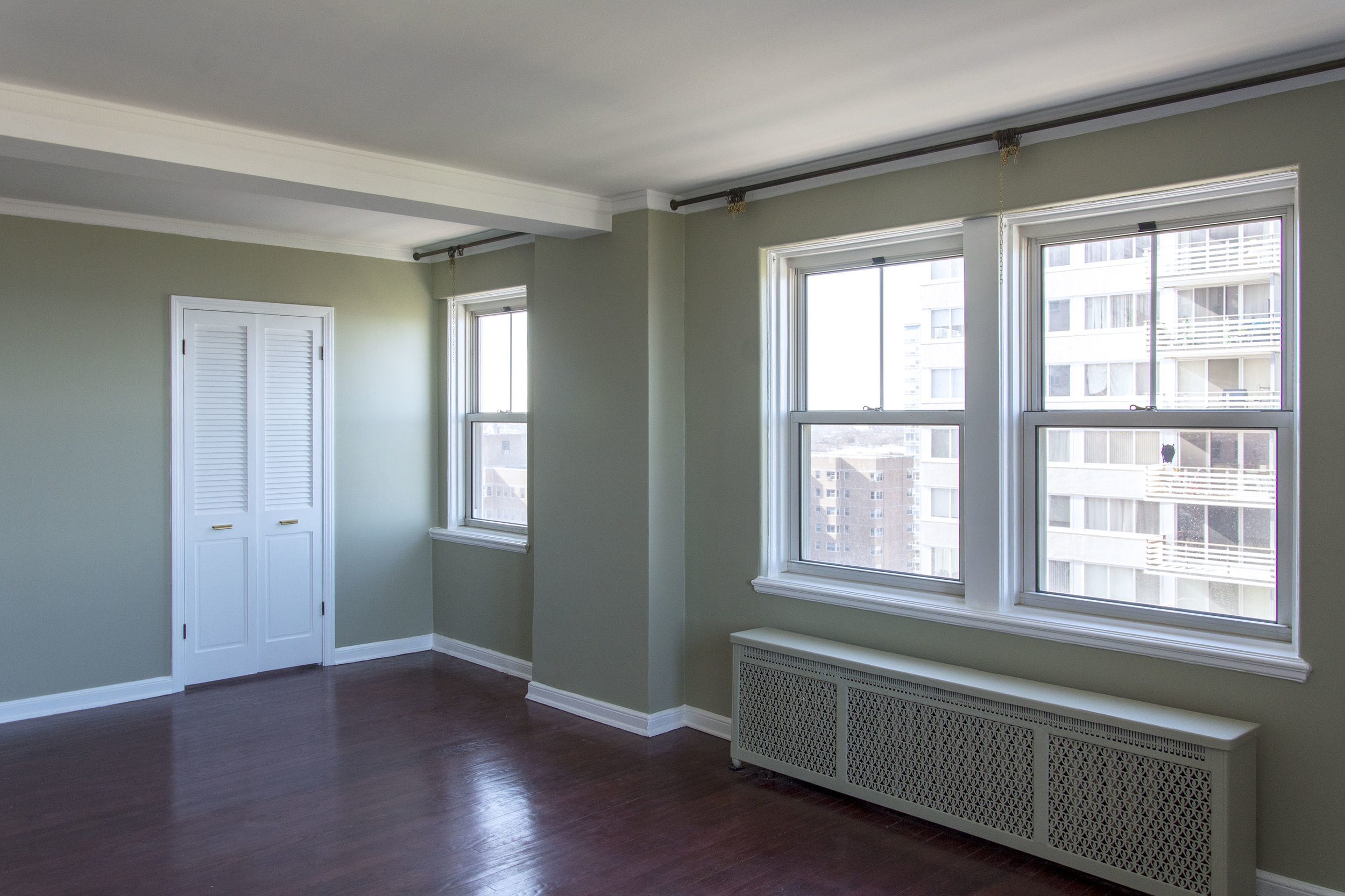 Chicago interior paint update Blue Door Chicago Sage SW 2860 Sherwin Williams