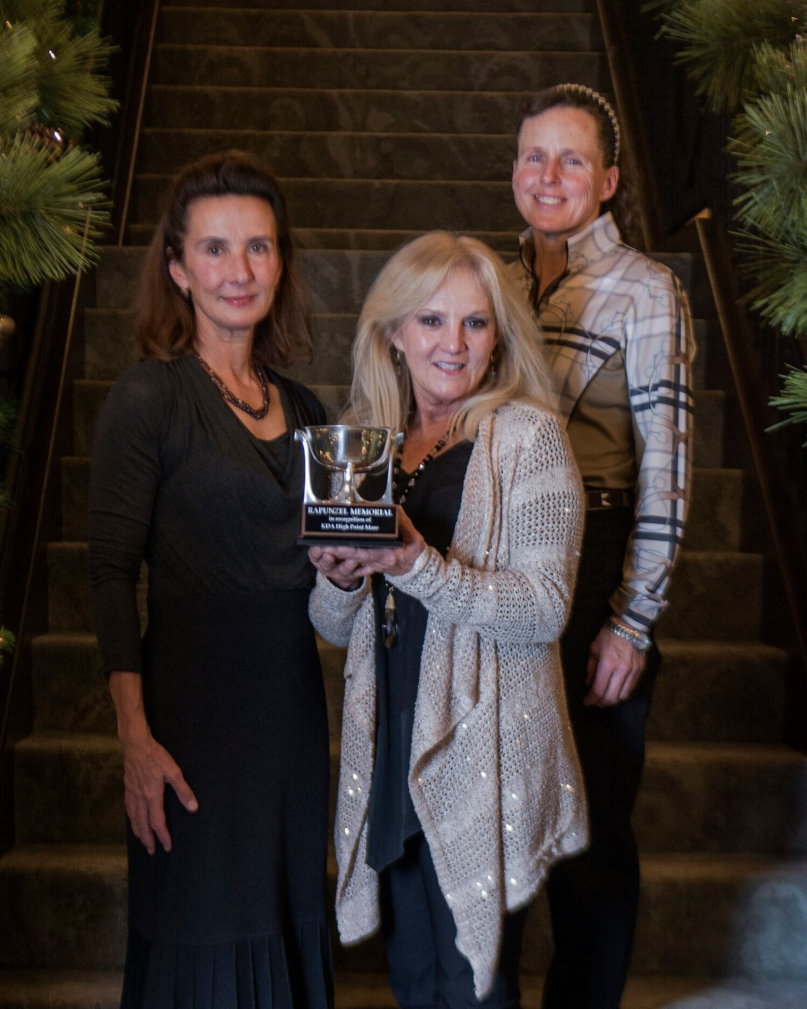 Presenting the Rapunzel Award winner Jackie Beasley with Jennifer Sloan and Linda Strine