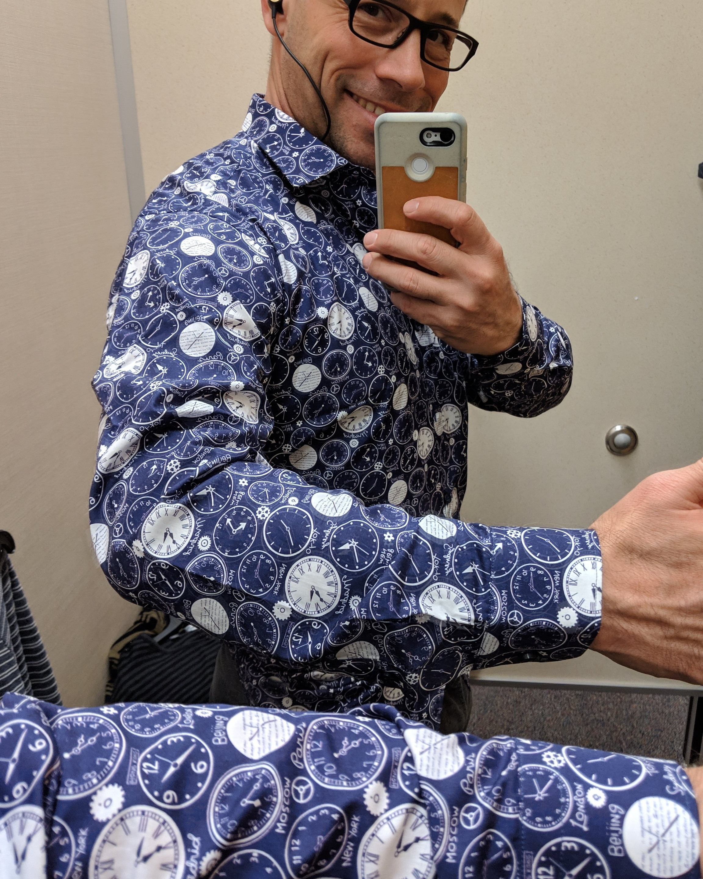 Neat shirt I tried on while shopping at Nordstrom Rack.