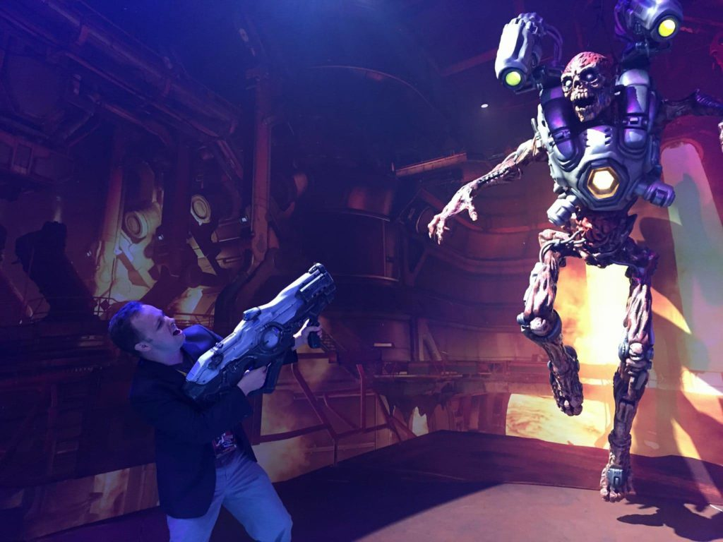 At E3, fighting a creature from  DOOM.  Photo courtesy of Andrew Poirier