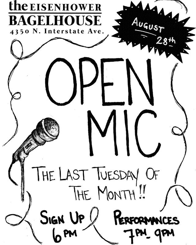 Come on by next week and check out our Open Mic. Always a good time!  #openmic #bagelhousepdx #eisenhowerbagels