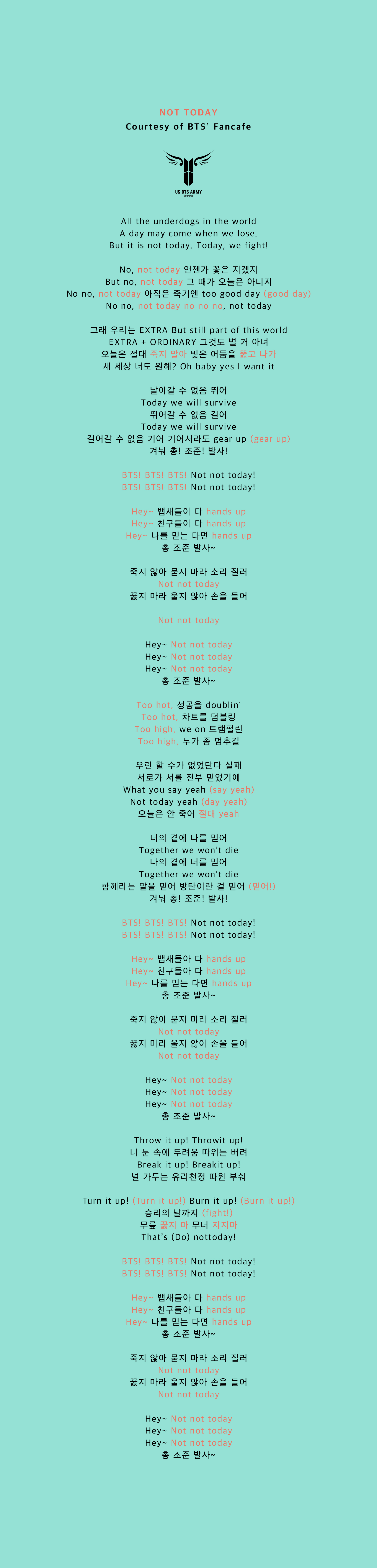 Not Today Fanchant Us Bts Army