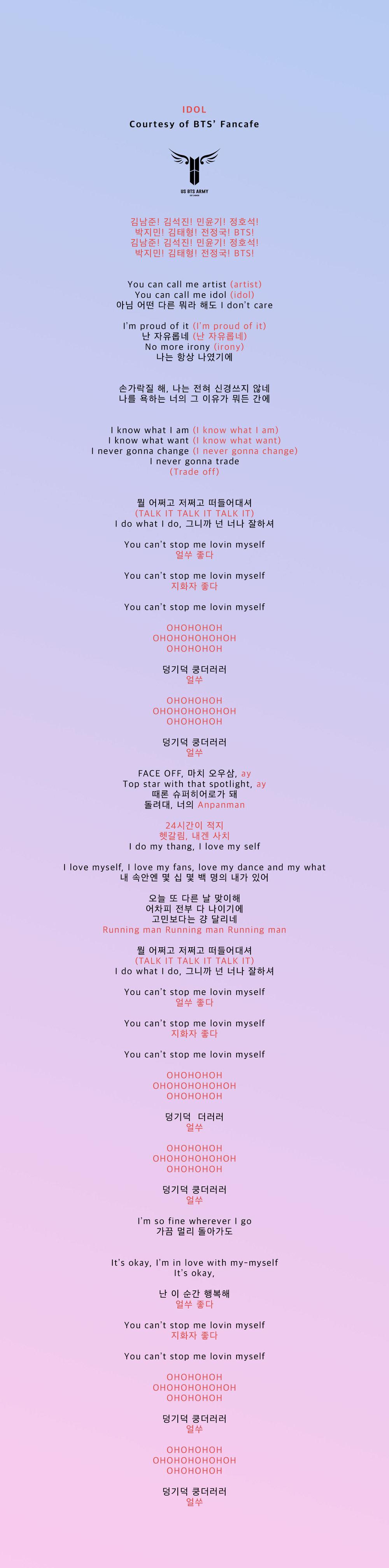 Official 'IDOL' Fanchant — US BTS ARMY