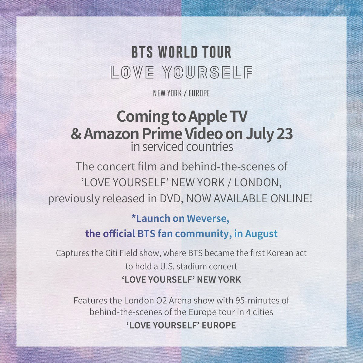 BTS WORLD TOUR 'LOVE YOURSELF' NEW YORK / EUROPE — US BTS ARMY