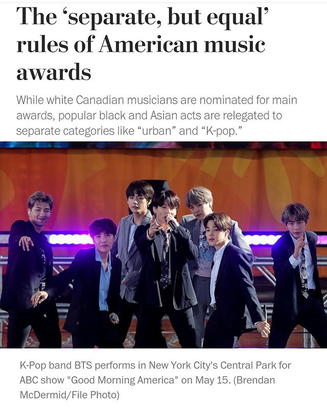An incisive article by Marian Liu of the @washingtonpost details recent frustration over @bts.bighitofficial's nominations for the 2019 @vmas.  Read through for a statement from us at US BTS ARMY! . . . . . . . . #BTS #방탄소년단 #RM #Namjoon #KimNamjoon #Jin #Seokjin #KimSeokjin #Suga #Yoongi #MinYoongi #JHope #Hoseok #JungHoseok #Jimin #ParkJimin #V #Taehyung #KimTaehyung #Jungkook #JeonJungkook