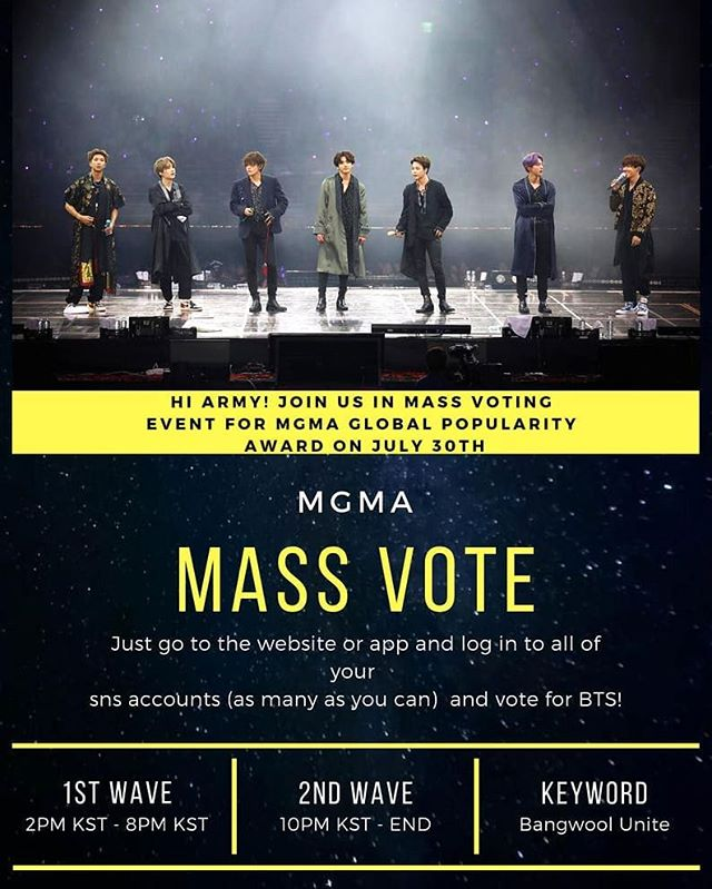 🔥MGMA: MASSIVE ATTACK!🔥 Join us as we fight for our BOYS! We going full force! ⚔️ • First wave → 2PM ~ 8PM (KST) • Second wave →10PM ~ 12AM (KST)  See poster for more details.  #MGMAVOTE #BTS #방탄소년단 #RM #Namjoon #KimNamjoon #Jin #Seokjin #KimSeokjin #Suga #Yoongi #MinYoongi #JHope #Hoseok #JungHoseok #Jimin #ParkJimin #V #Taehyung #KimTaehyung #Jungkook #JeonJungkook