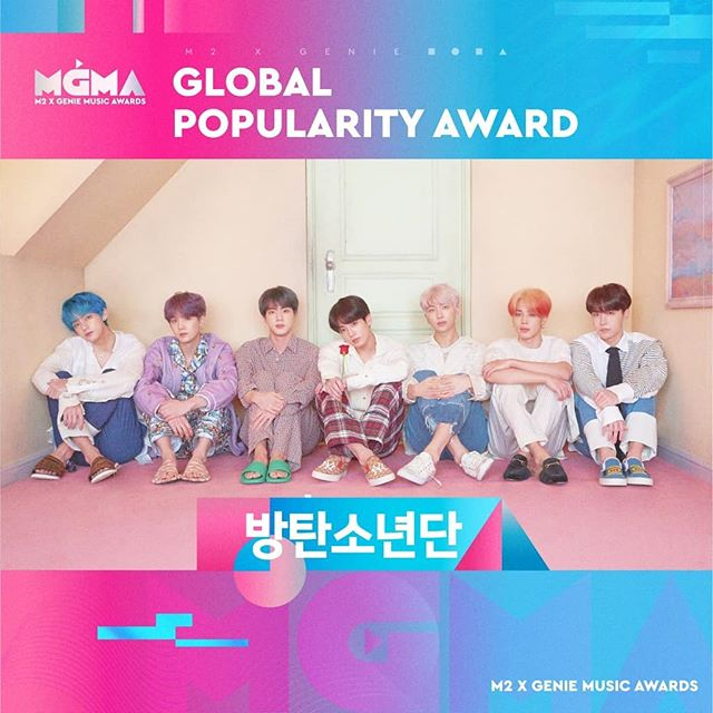Congratulations to BTS for winning . 🏆 The Performing Artist Male 🏆 Global Popularity Award . at the 2019 MGMA! 🎊🎉💜 . . . . . . . . #BTS #방탄소년단 #RM #Namjoon #KimNamjoon #Jin #Seokjin #KimSeokjin #Suga #Yoongi #MinYoongi #JHope #Hoseok #JungHoseok #Jimin #ParkJimin #V #Taehyung #KimTaehyung #Jungkook #JeonJungkook