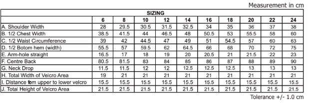 Our MNC dress size chart
