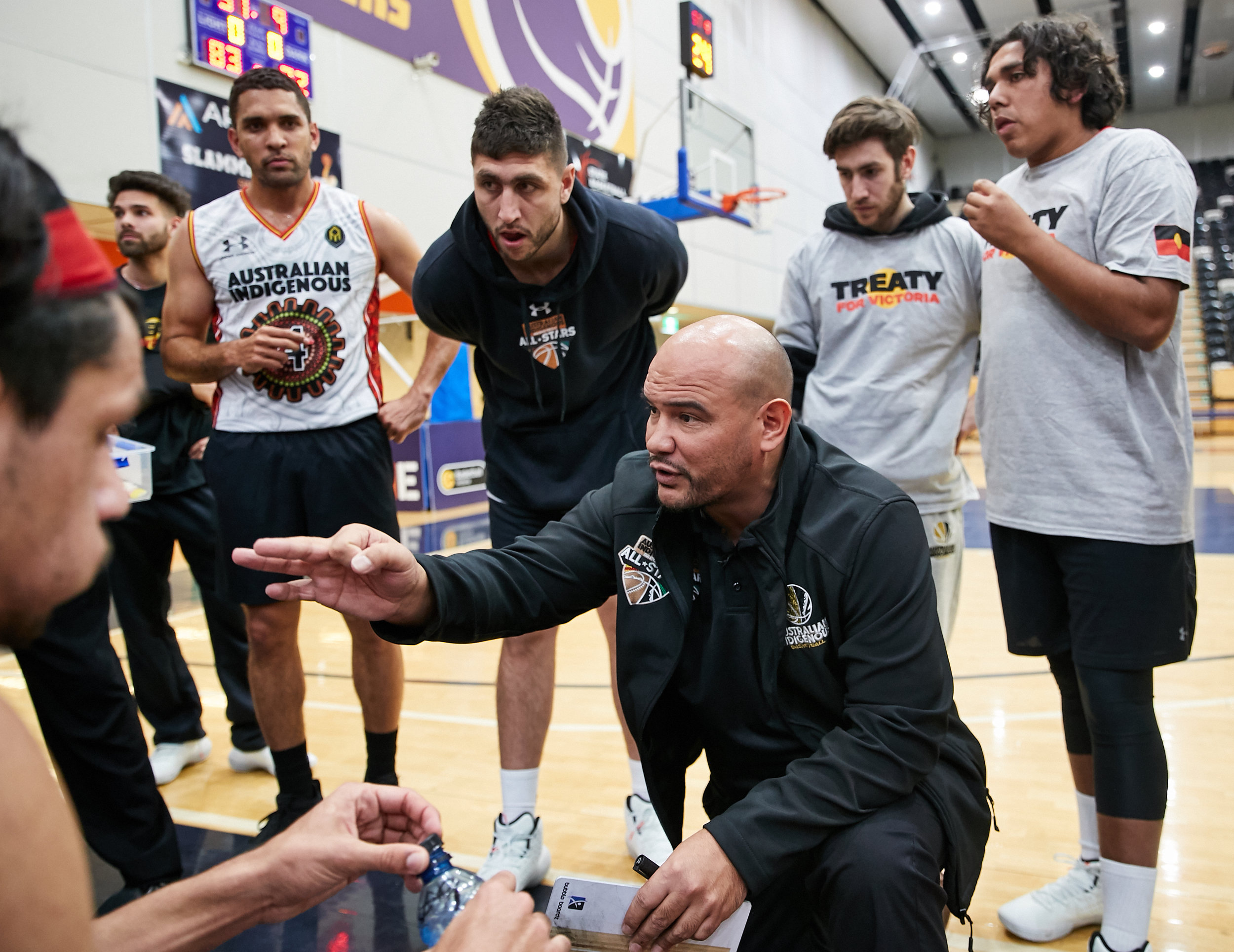 Khalu in action as head coach of the Australian Indigenous Basketball All Stars. Picture: Provided.