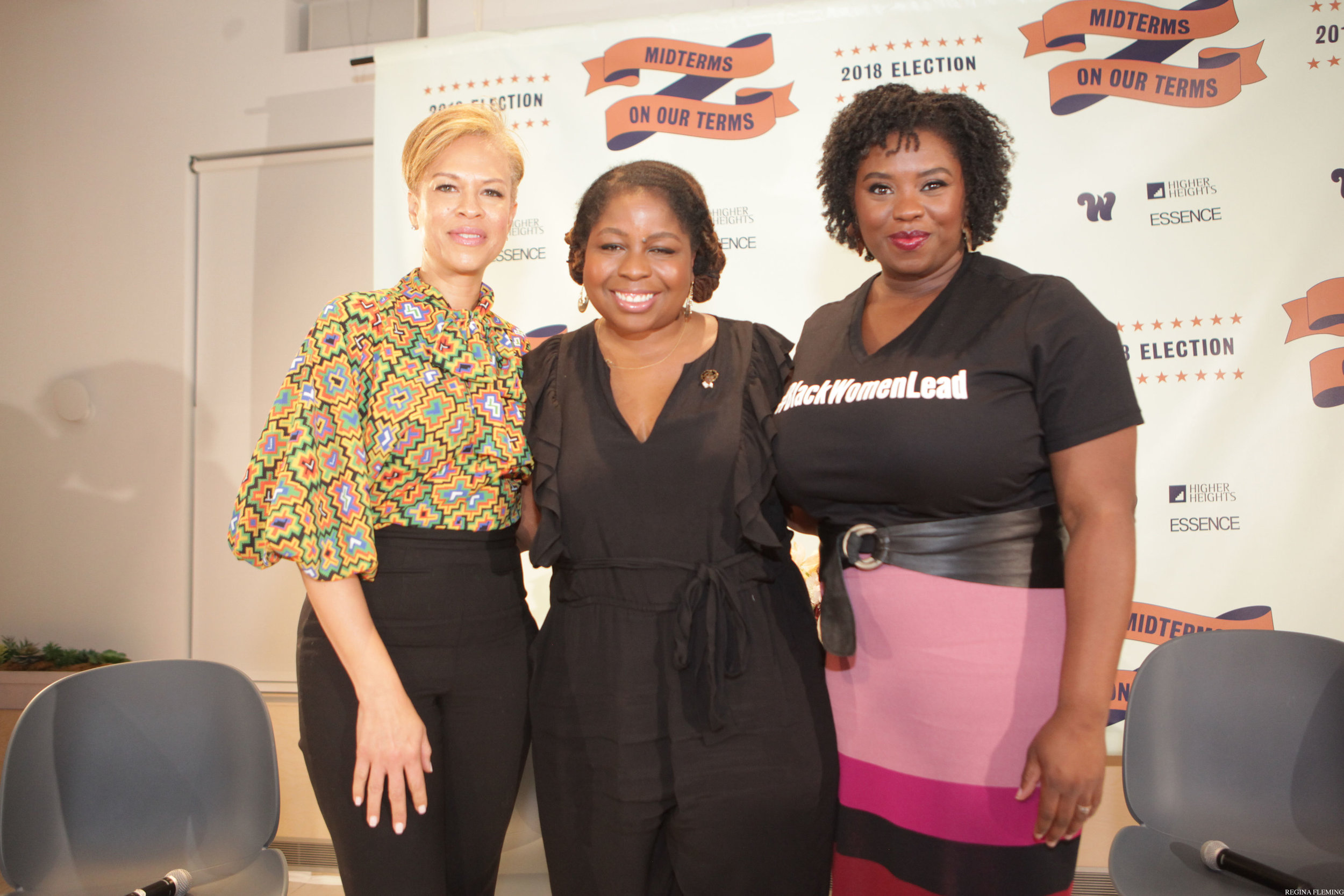 "From left to right: Tonya Lewis Lee (""She's Gotta Have It"", Netflix); Veronica Chambers (New York Times); L. Joy Williams (NAACP/Sunday Civics). 2018 Midterms Election Night Watch Party. NYC."