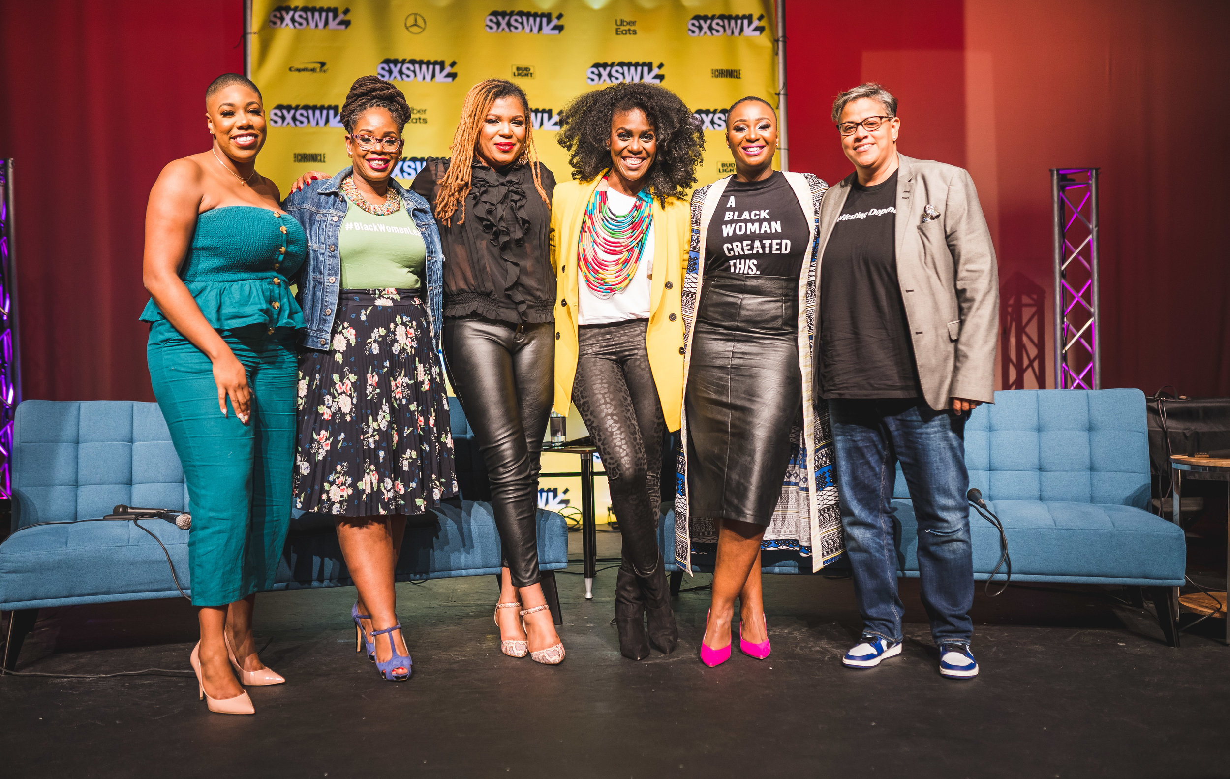 Pictured from L to R: Symone Sanders (CNN); Glynda Carr (Higher Heights); Yesha Callahan (ESSENCE); Fri Forjindam (Mycotoo); Kalilah Wright (Mess In A Bottle); and Melissa Bradley (1863 Ventures). SxSW. 2019. Austin, TX.