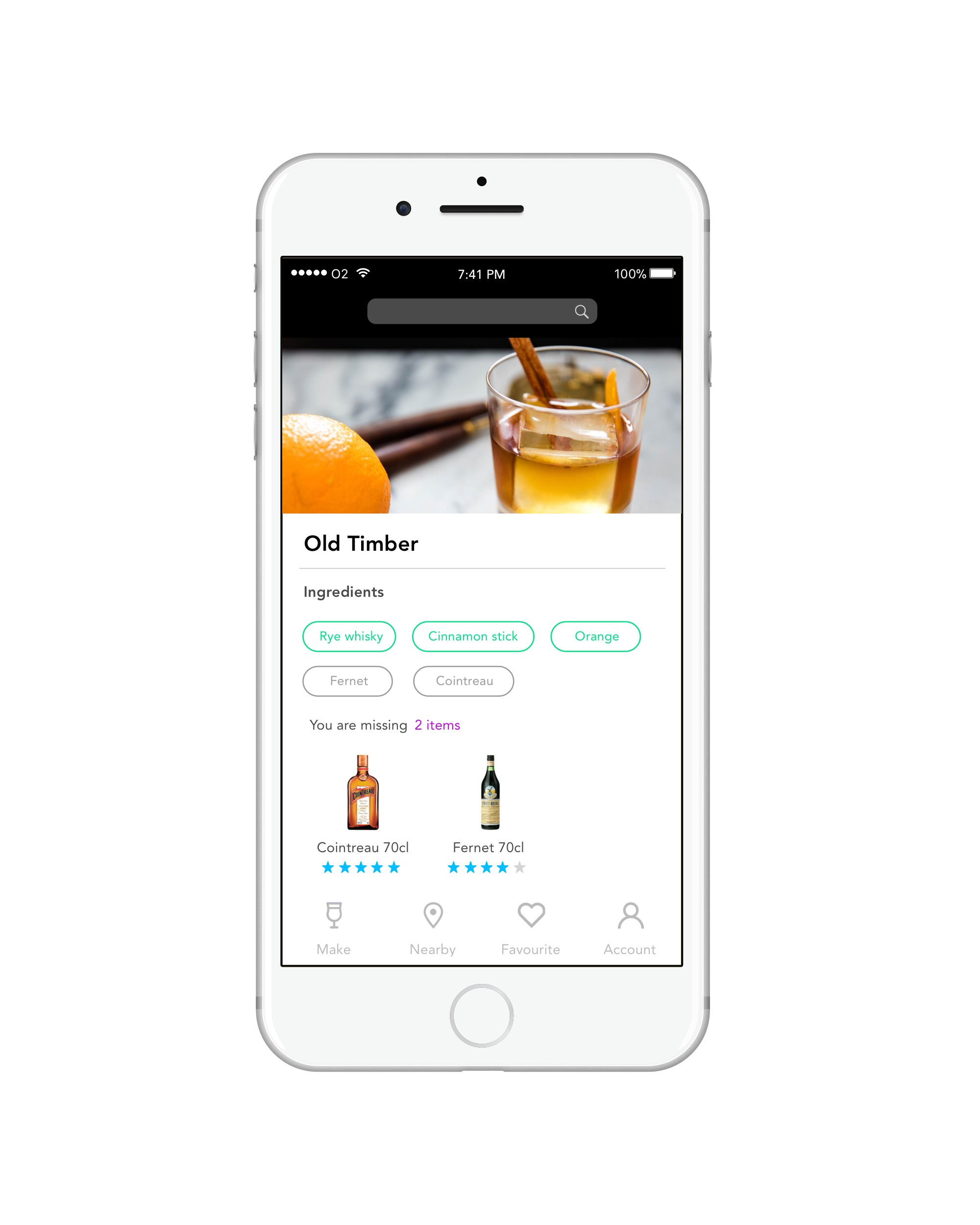RECIPES BASED ON EXISTING INGREDIENTS - A unique feature of the app is the functionality of being recommended Cocktail recipes based on the current ingredients users have at home. Once the user has entered their ingredients either by the scanning function or manual input the app will suggest recipes. The app will also recommend recipes the user can potentially make if they choose to add a few more ingredients which are highlighted. This will allow any sponsors or investors to promote their product to a target audience.