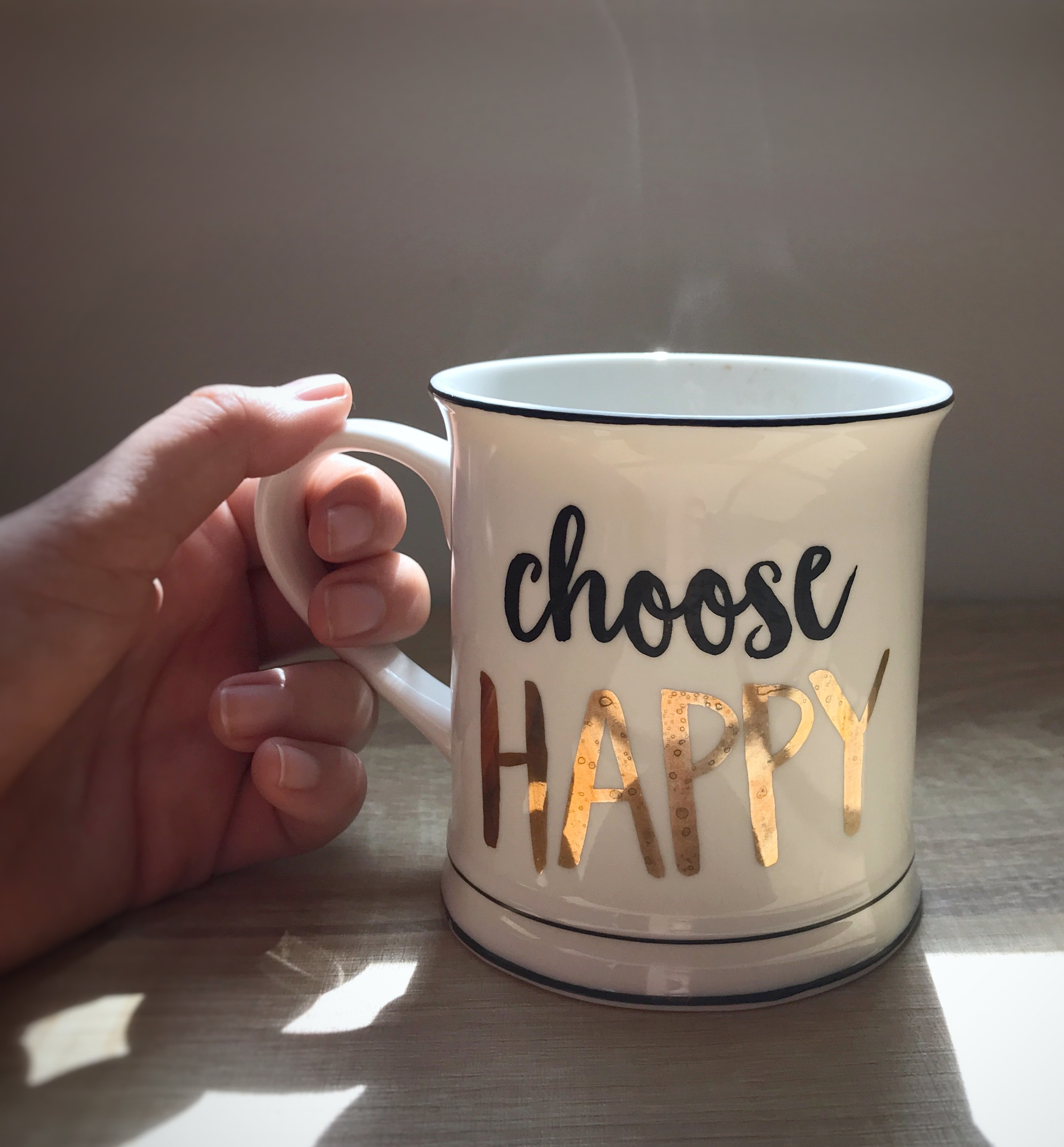 """White mug, quote: """"Choose Happy"""" 