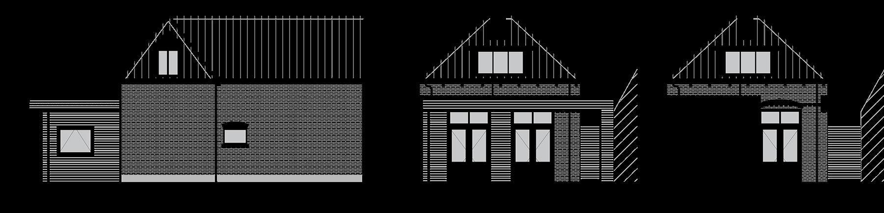 Nieuwe gevelaanzichten en doorsnede aanbouw
