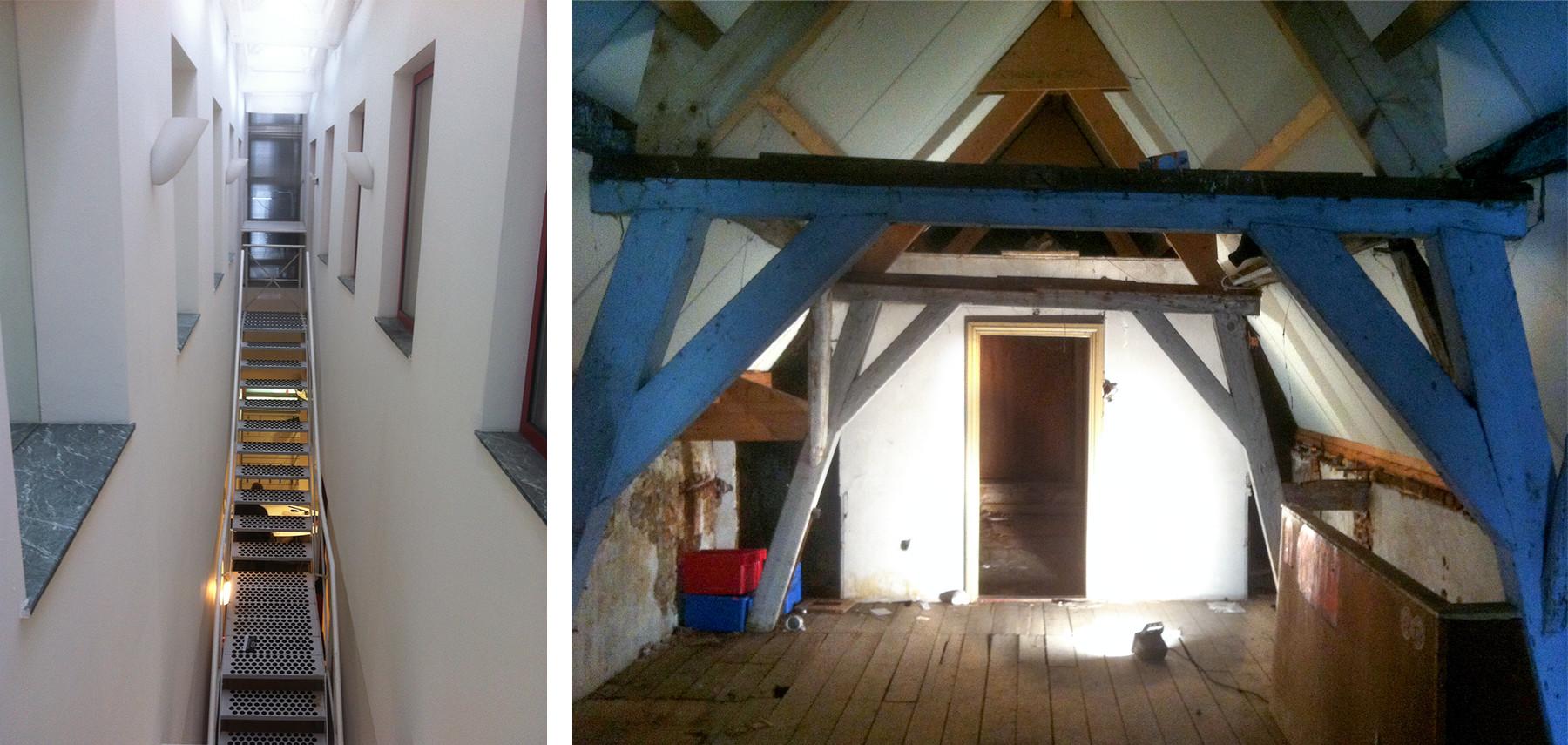 Bestaande trap en zolderverdieping