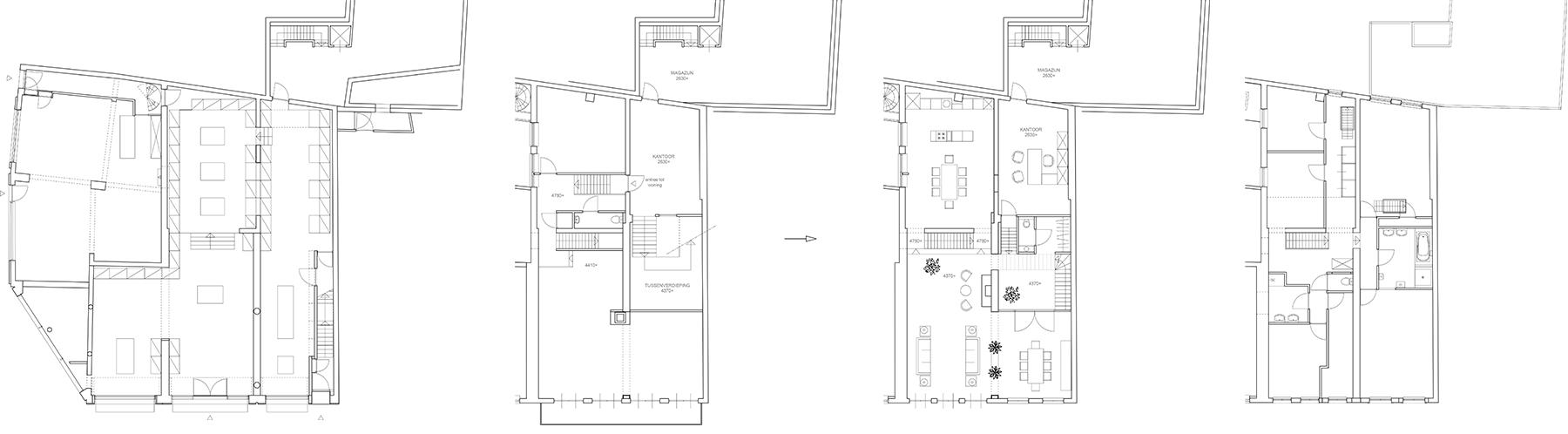 Nieuwe begane grond - bestaande 1e verdieping > nieuwe 1e verdieping - 2e verdieping