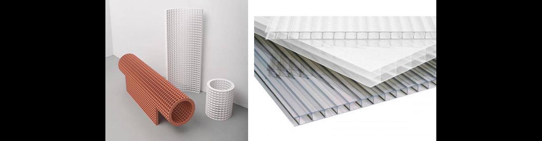 Materialisatie:  Oranje strekmetaal voor de bouw van de bergingen en de lambrisering van kanaalplaten