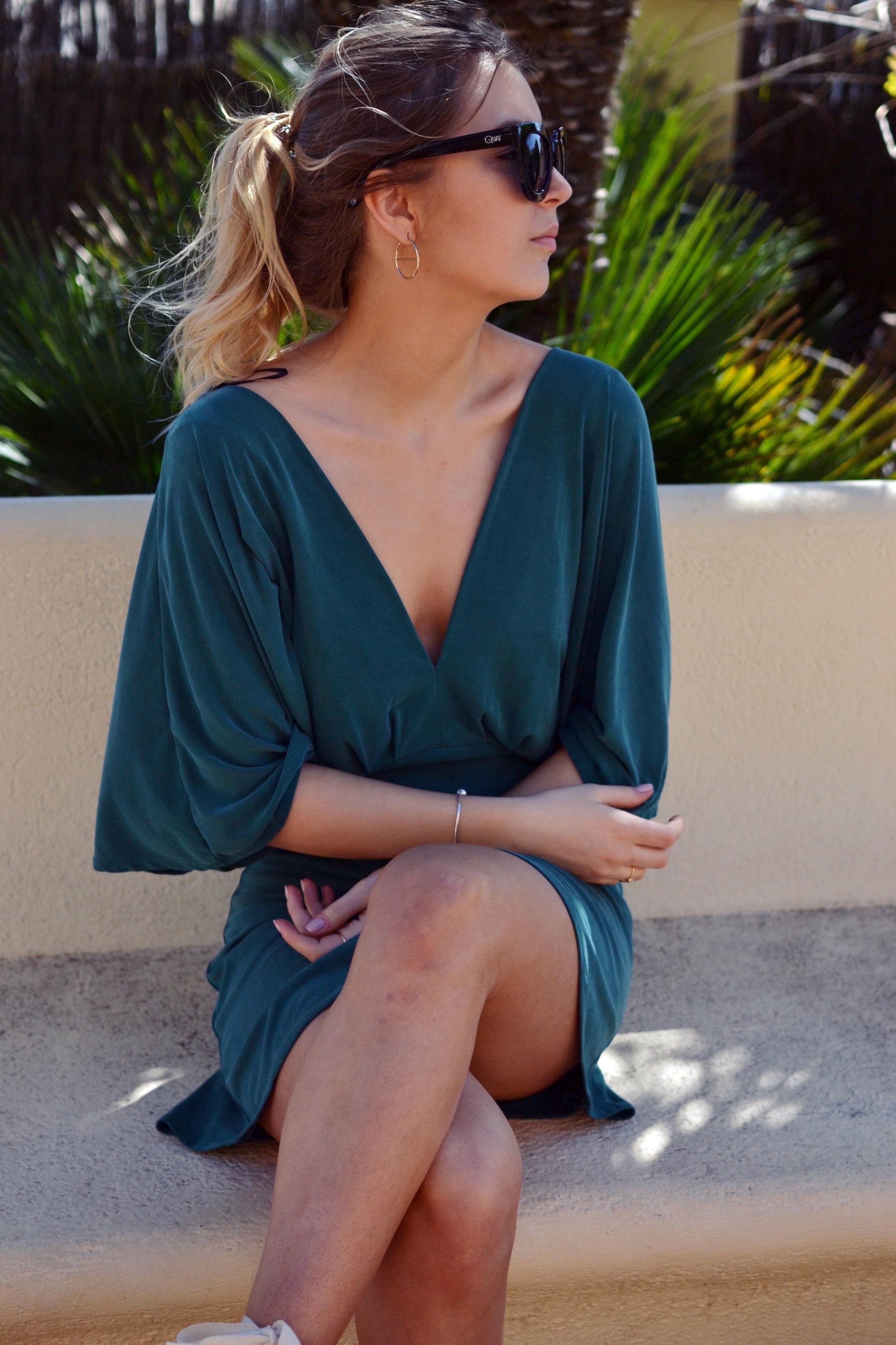 H&M Deep V green dress