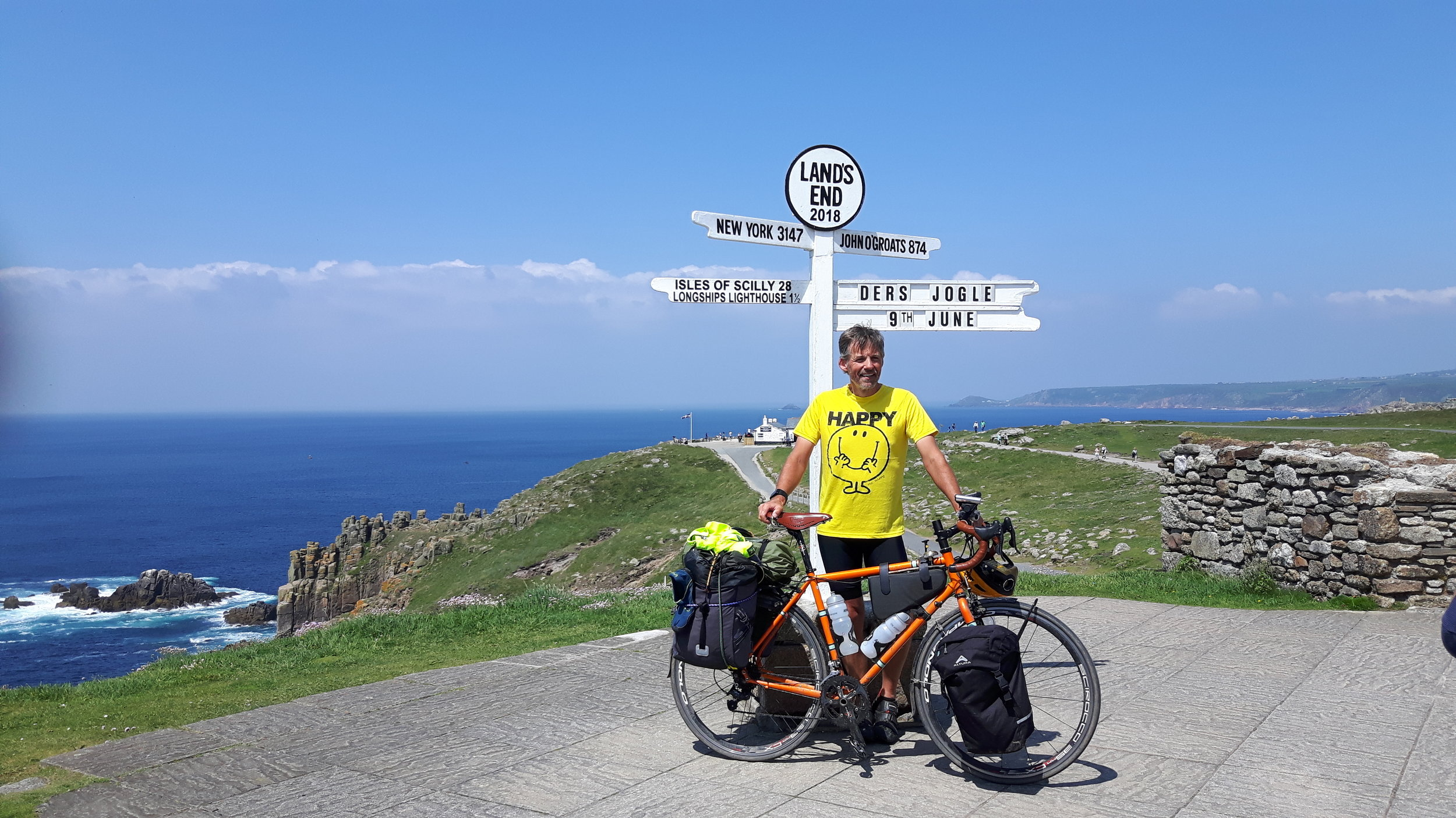 An epic achievement. Journey's end for one of our guests, completing a solo ride from John o'Groats.   Photograph with kind permission of Derwen Love
