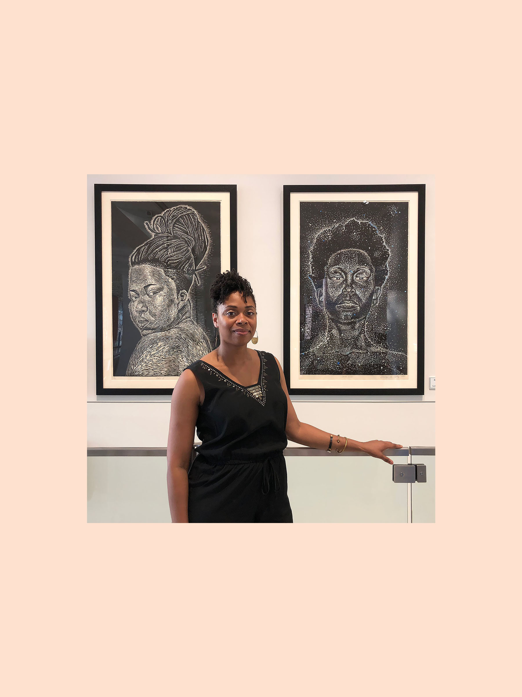 Latoya Hobbs    LaToya M. Hobbs is a native of North Little Rock, AR. She received B.A degree in Studio Art with an emphasis in Painting from the University of Arkansas at Little Rock and her MFA in Printmaking from Purdue University. LaToya's work deals with figurative imagery that addresses the ideas of beauty and cultural identity while reexamining the traditional triadic artist, model, viewer, relationship. Most recently she has expanded her practice to encompass ideas about maternity and the role of women as preservers of family, culture and community. Her exhibition record includes several national and international exhibitions and her work has also been featured in  Transition: An International Review , a publication of the W.E.B. Dubois Institute for African and African American Research at Harvard University. In addition to her own studio practice, LaToya devotes her time to teaching and inspiring young artists as a Professor at the Maryland Institute College of Art, Baltimore, MD   +  latoya hobbs in front of her prints, at an exhibition .