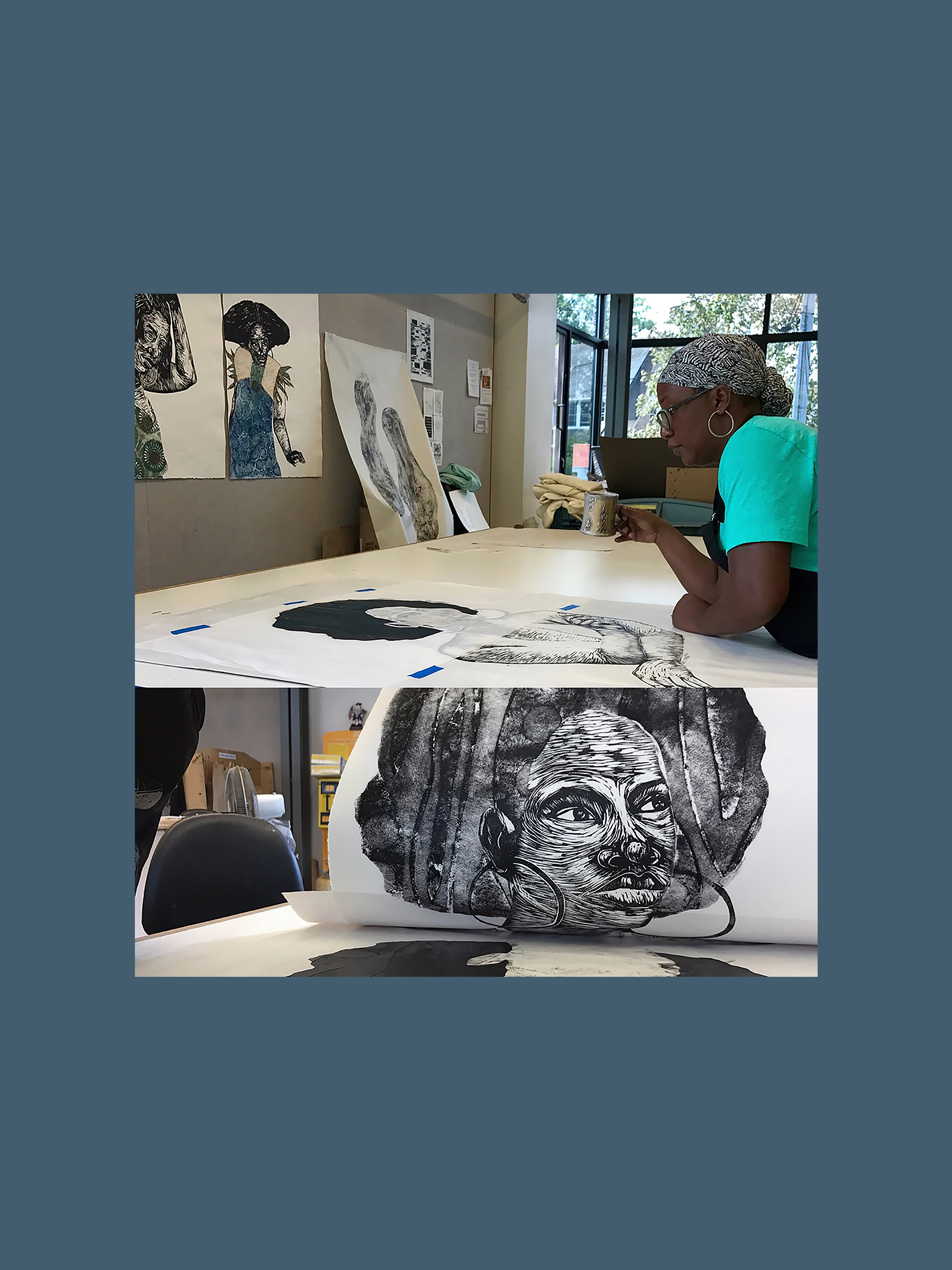 Delita Martin    Delita Martin is an artist currently based in Huffman, Texas. She received a BFA in drawing from Texas Southern University and a MFA in printmaking from Purdue University. Formally a member of the fine arts faculty at the University of Arkansas at Little Rock, Martin currently works as a full-time artist in her studio, Black Box Press. Working from Oral traditions, vintage and family photographs as a source of inspiration, Martin's work explores the power of the narrative impulse. Her process of layering various printmaking, drawing, sewing, collaging, and painting techniques allow her to create portraits that fuses the real and the fantastic.   +  delita martin in her print studio.