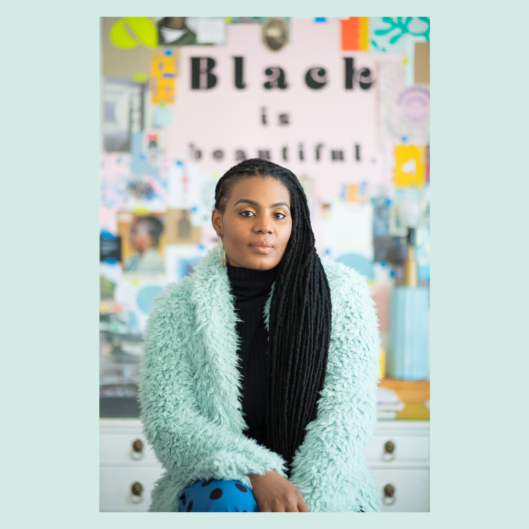 Tanekeya Word   , Founder.   Tanekeya Word is a Milwaukee, Wisconsin based visual artist, printmaker and art educator. A womanist, her work centers around Black women: sampling their past, remixing their present, and re-imagining the future of Blackness through the lens of Black girlhood and womanhood. Tanekeya is pursuing a PhD in Urban Education, with a specialization in Art Education. Her research focuses on Critical Race Theory, Black women, Thirdspace and Black Aesthetics.   +  tanekeya word in her home workspace.