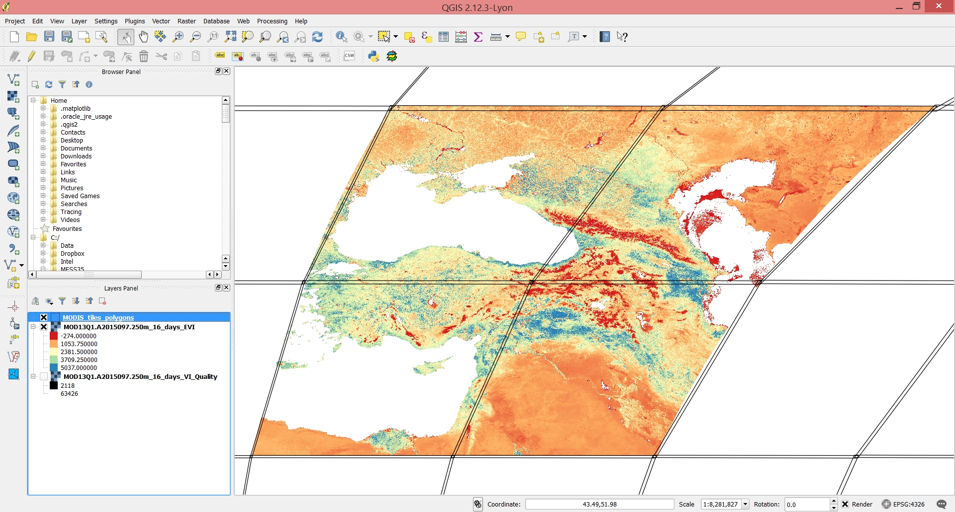 Screenshot of the final mosaicked imagery loaded into QGIS along with the boundaries of the MODIS tiles.