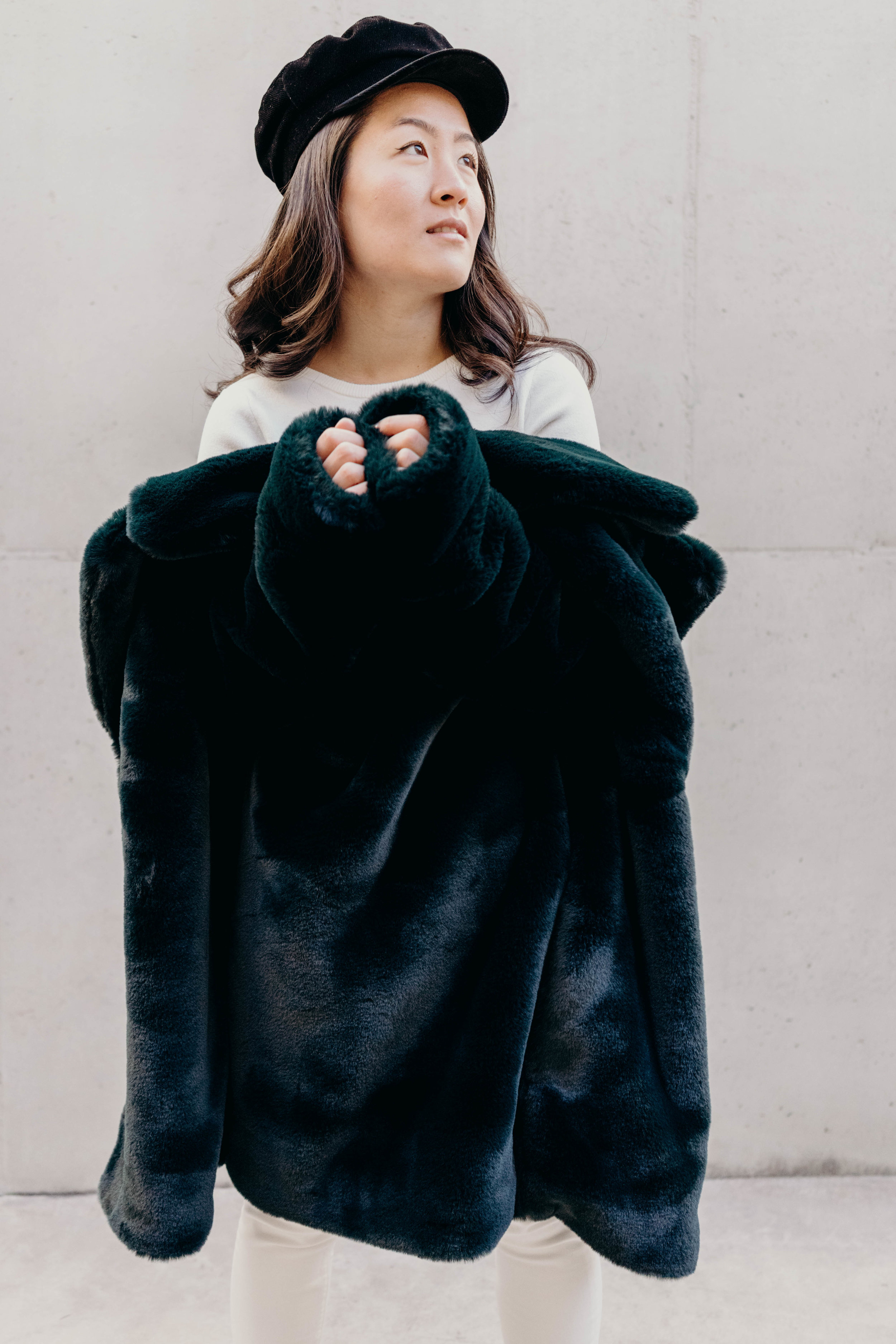 Setting Intentions for 2019 | On the Street Where We Live ( aretherelilactrees.com )  MANGO cross-back sweater, baker boy hat, & Other Stories emerald faux fur coat, booties, Everlane denim