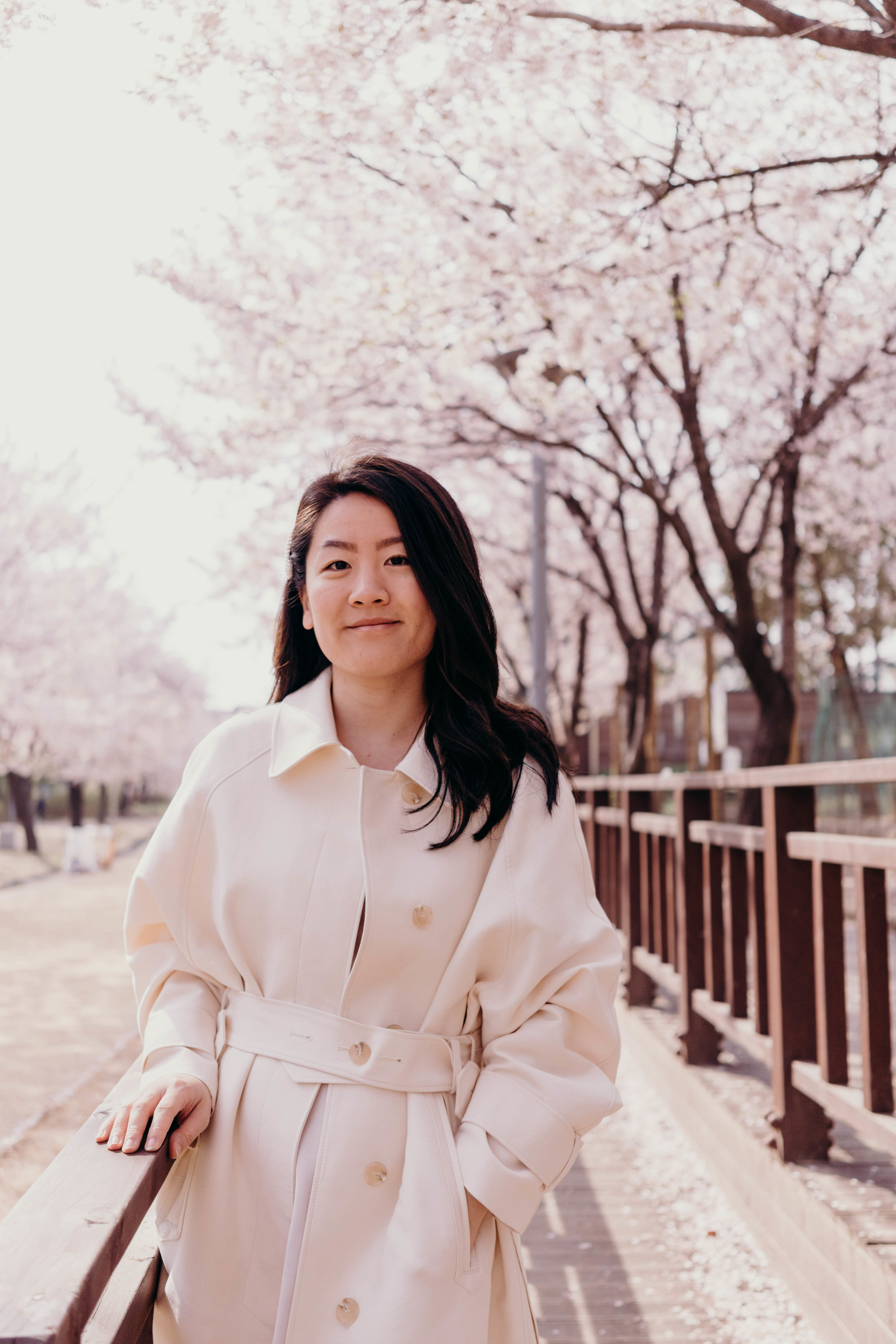 Three of My Favorite Pieces in My Wardrobe at the Moment (and the Spring Pieces I'm Coveting)   On the Street Where We Live ( aretherelilactrees.com )  spring, style, trench coat, tidy coat, silk cami, silk skirt, pearl barrette, 3.another, Gold Halk, Belmto, cherry blossoms, Seoul, South Korea