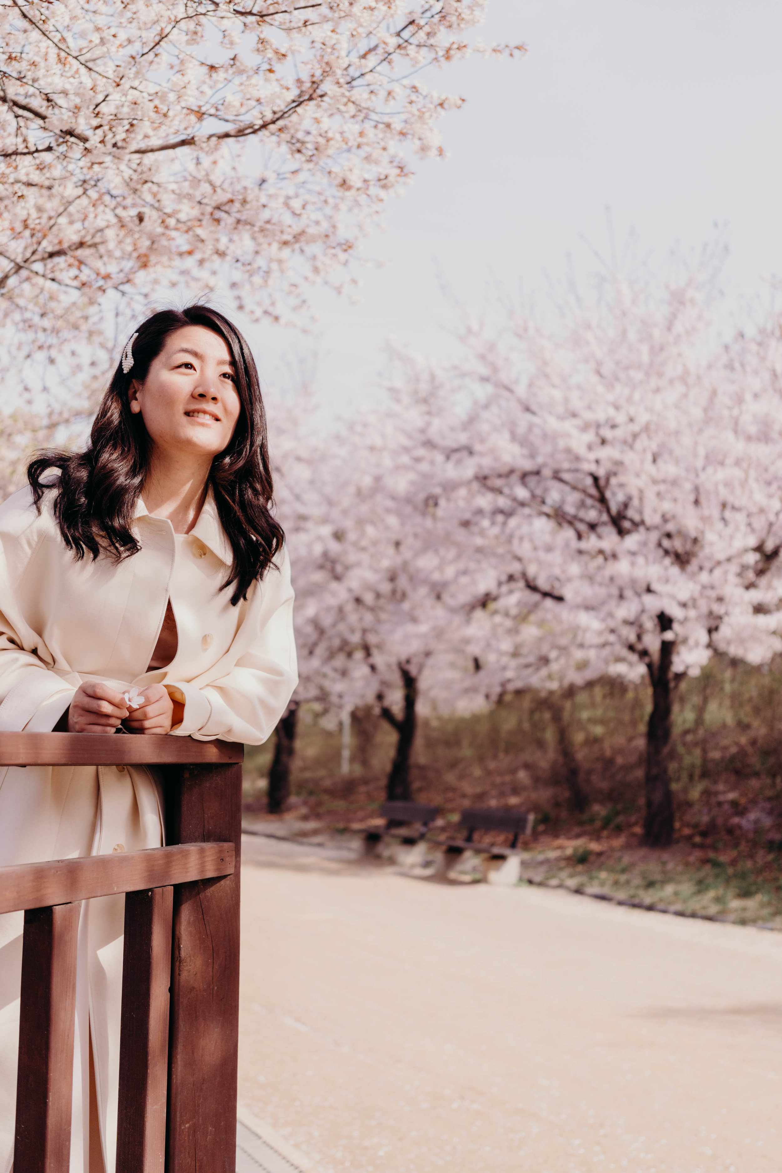 Living in Anticipation | On the Street Where We Live (aretherelilactrees.com)  cherry blossoms, sakura, Seoul, South Korea, trench coat, tidy coat