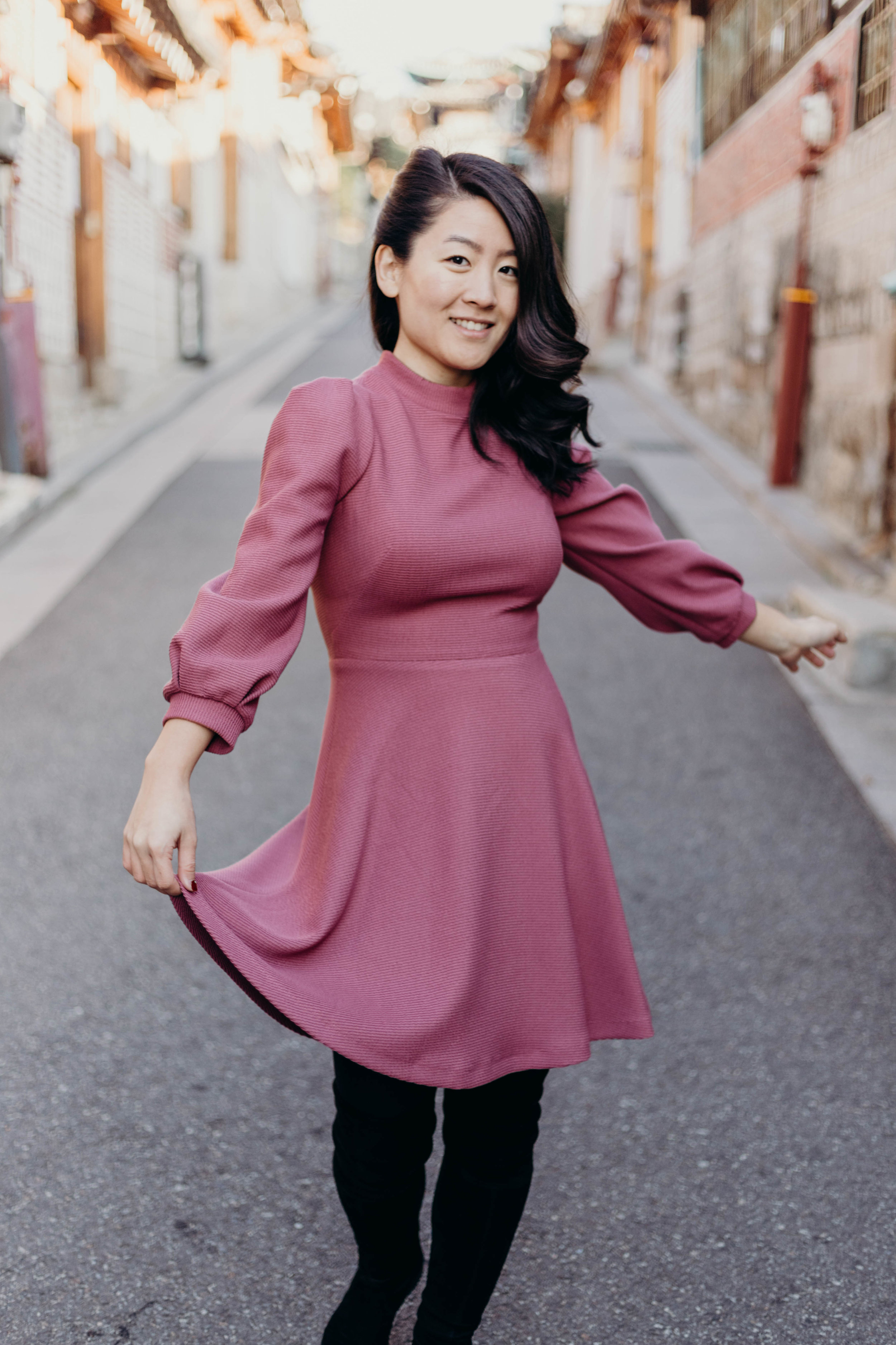 The Dress I Wore Most Last Semester and an Exciting Sale | On the Street Where We Live ( aretherelilactrees.com )  Gal Meets Glam Collection, Maggie dress, Bukchon Hanok Village, Seoul, South Korea