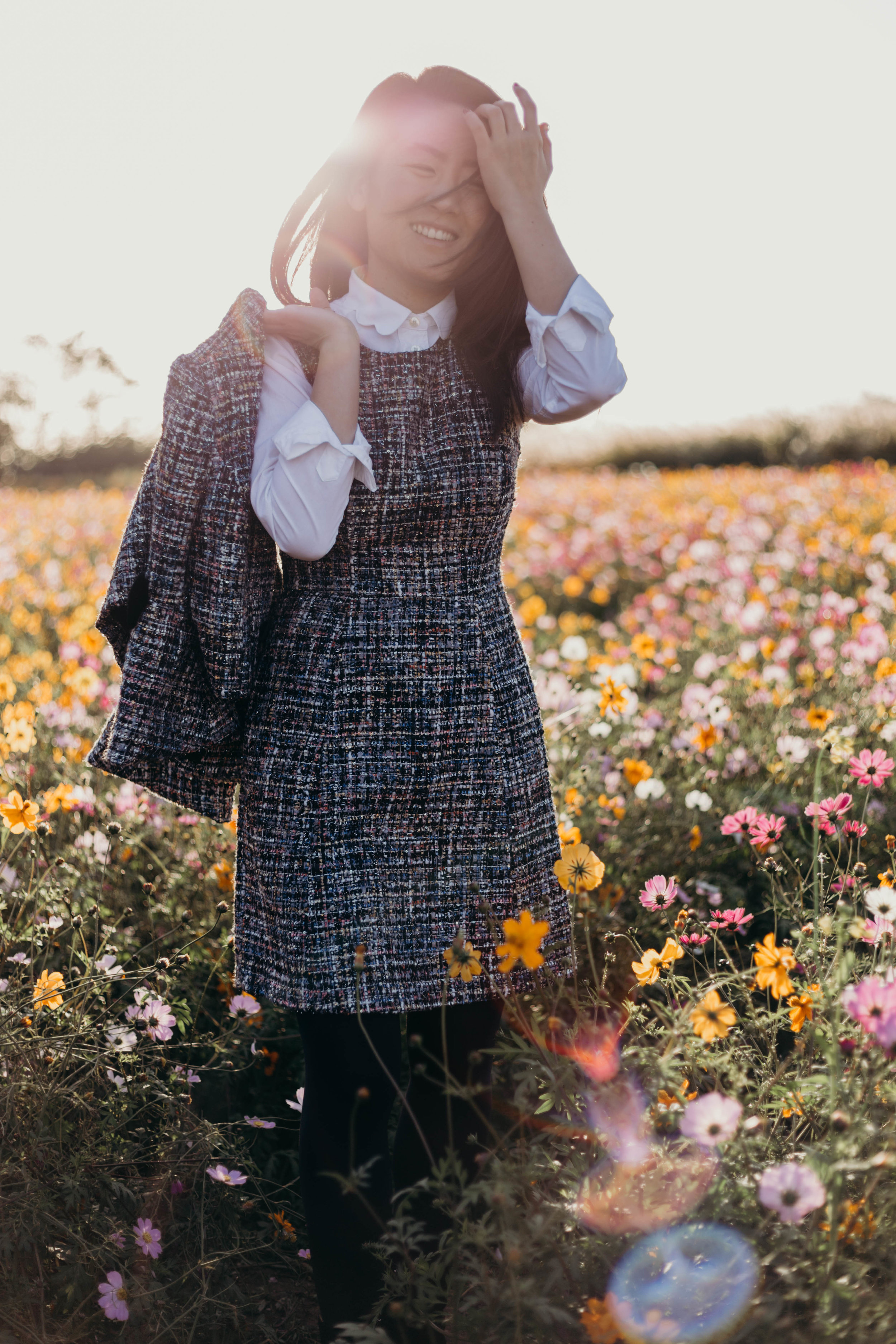 The Dress I Wore Most Last Semester and an Exciting Sale | On the Street Where We Live ( aretherelilactrees.com )  Gal Meets Glam Collection, Katherine jacket, Katherine dress, cosmos flowers, Haneul Park, Seoul World Cup Park, Seoul, South Korea