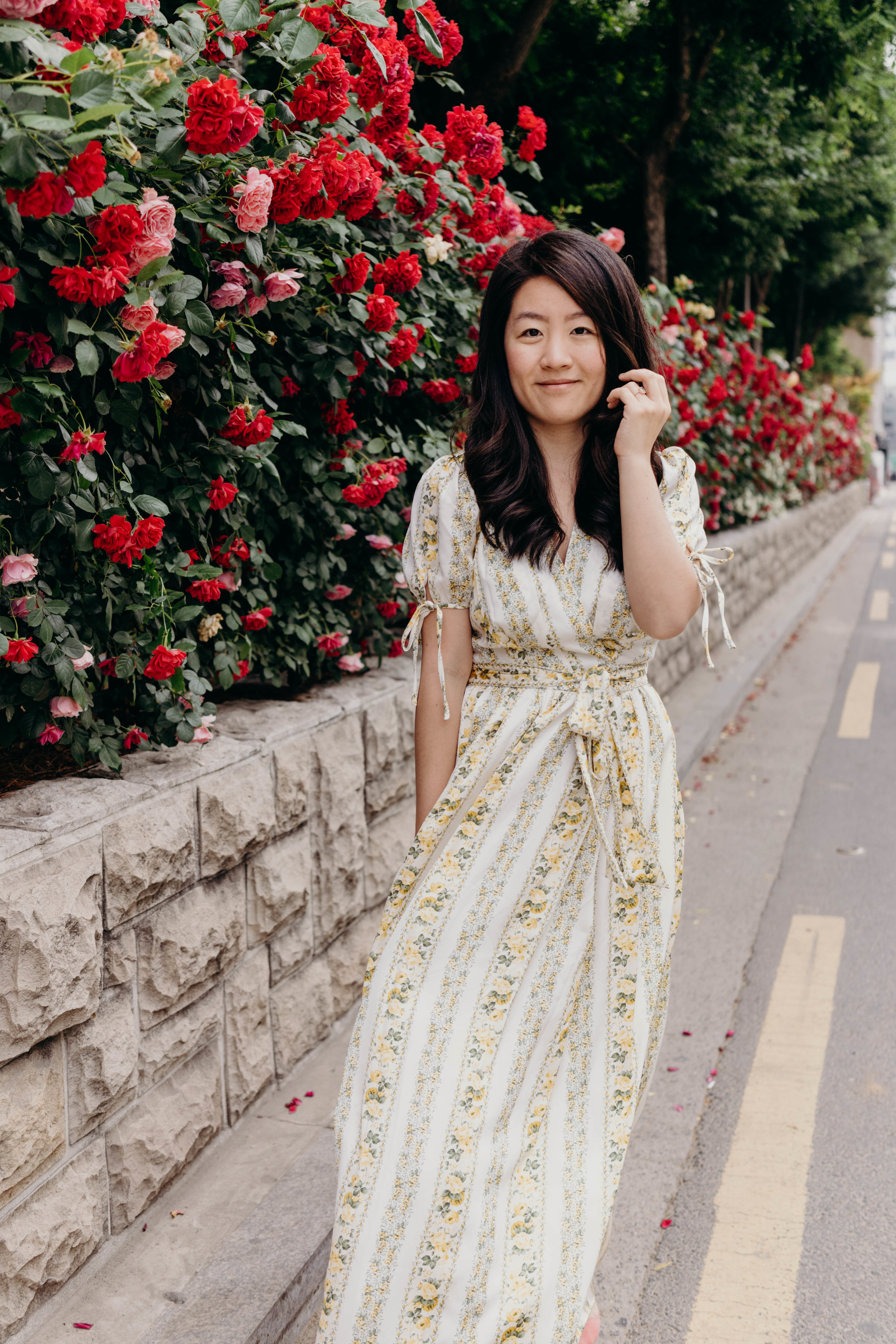 The Dress I Wore Most Last Semester and an Exciting Sale | On the Street Where We Live ( aretherelilactrees.com )  Gal Meets Glam Collection, Imogene dress, Gyeongui Line Forest Park, roses, Yeonnam-dong, Seoul, South Korea