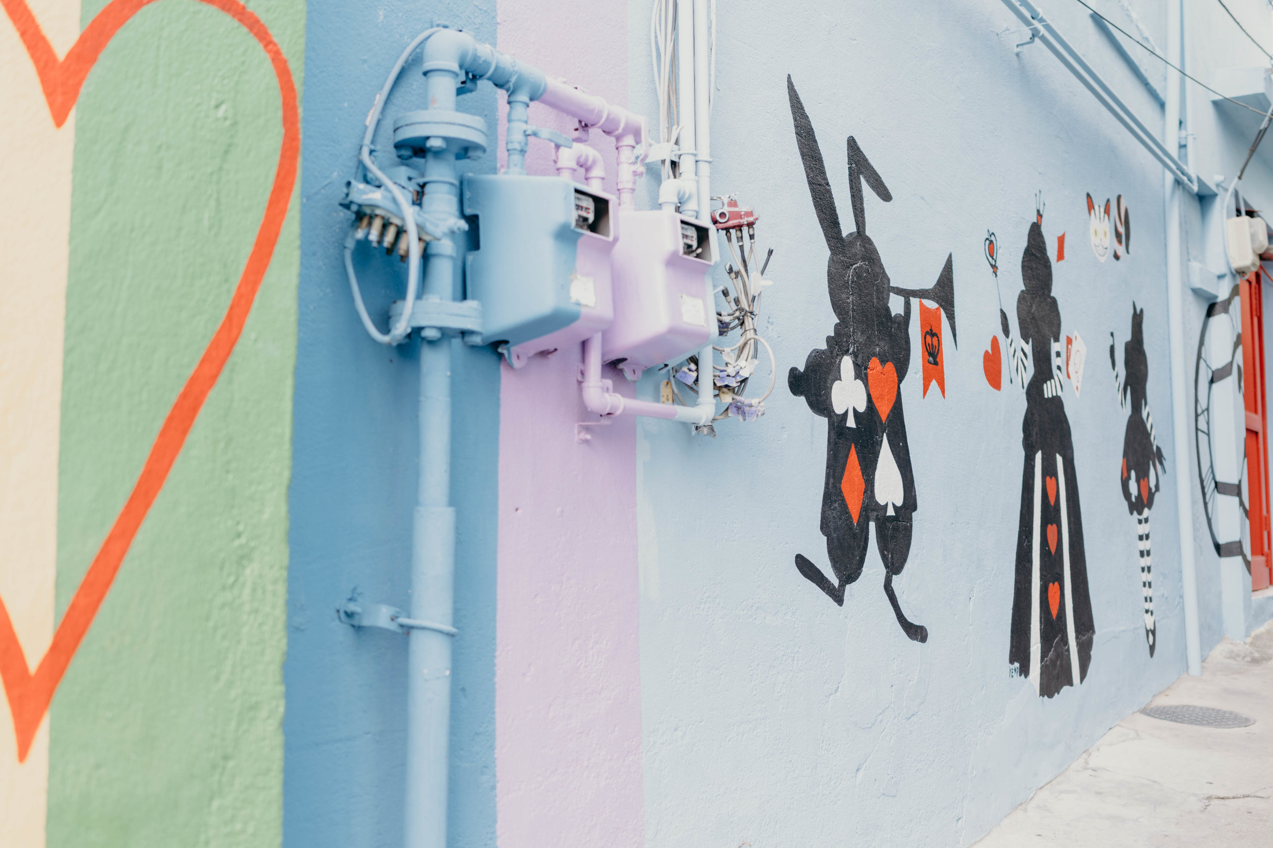 How to Plan Five Days in Seoul | On the Street Where We Live ( aretherelilactrees.com )  Ihwa Mural Village, Alice in Wonderland mural, rainbow heart mural, Seoul, South Korea
