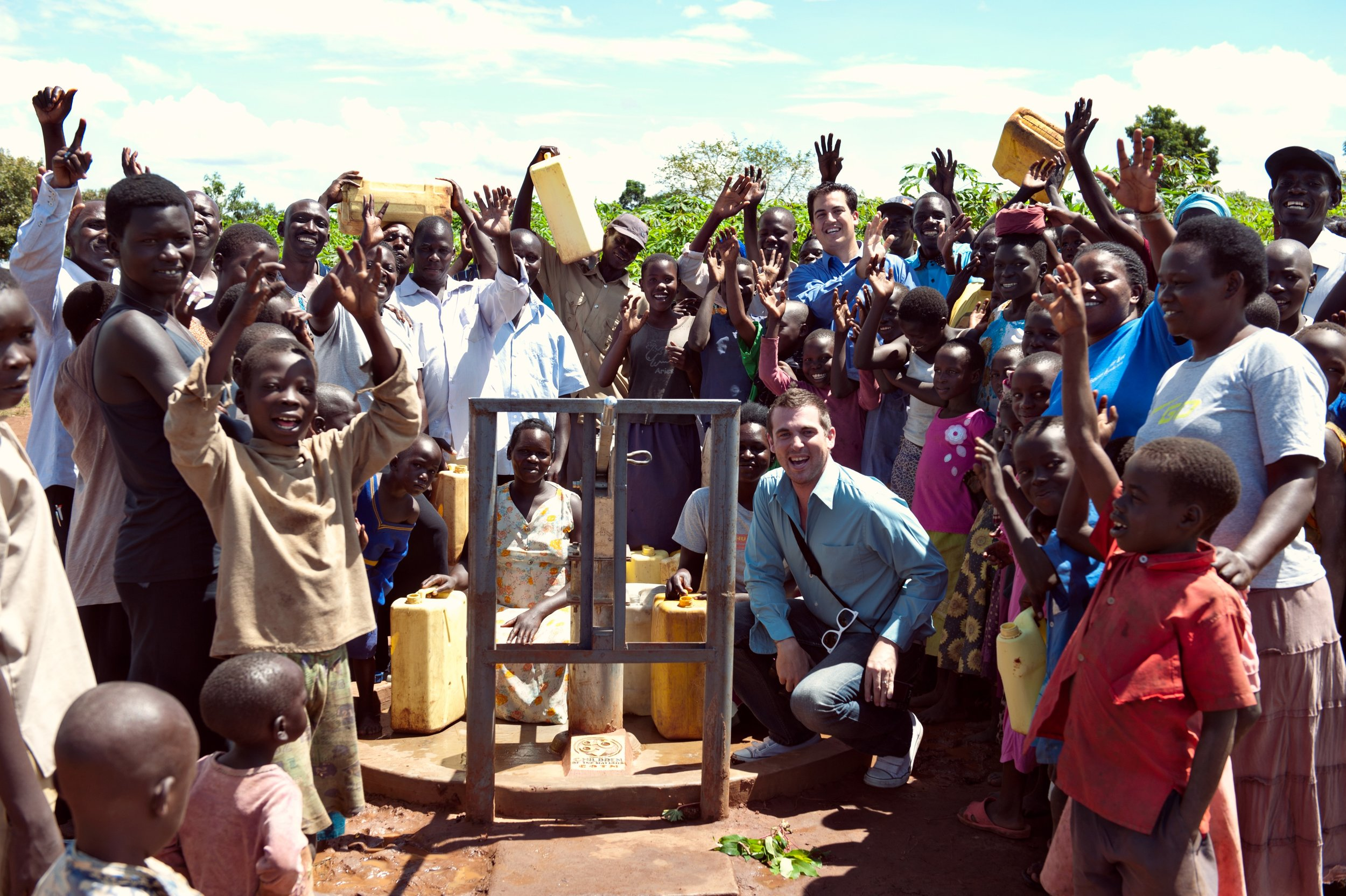 Putting in a fresh water well in Uganda in 2011