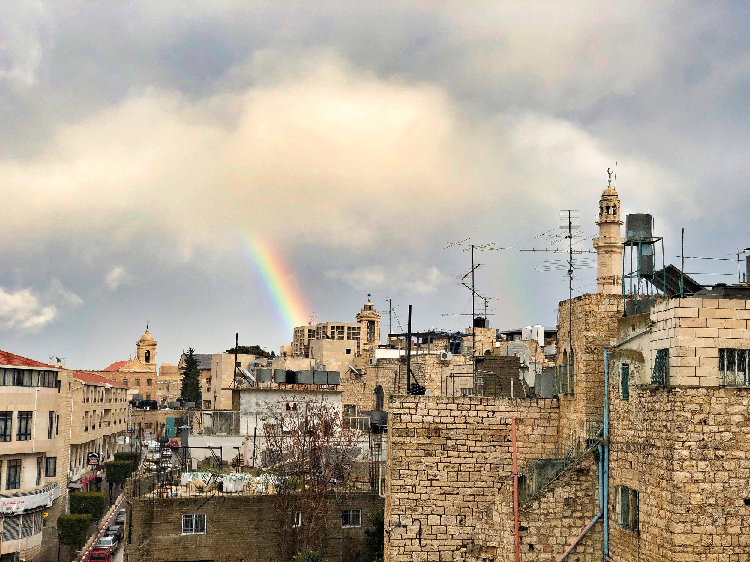 Rainbow over Bethlehem as we left Sami Awad's place.