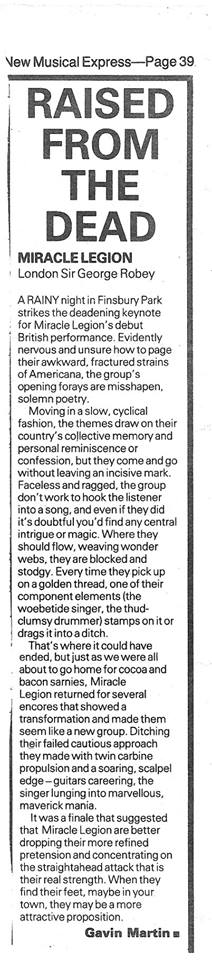 NME Live review for 1986 Sir George Robey, London show