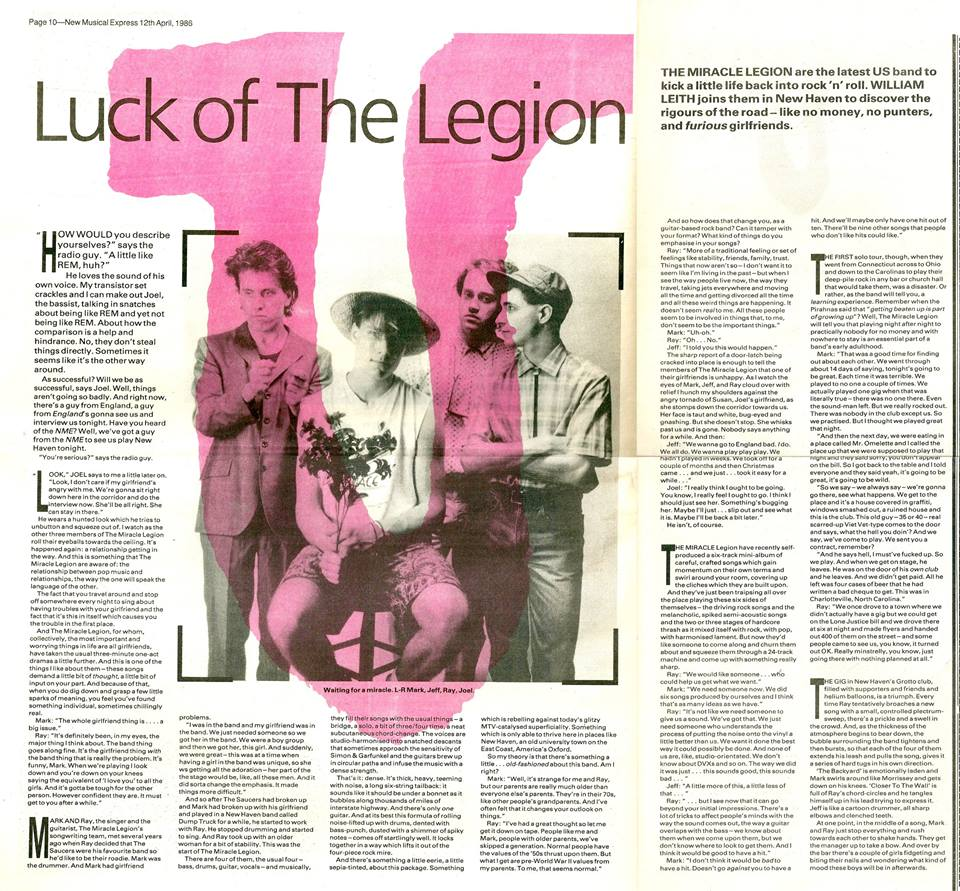 12 April, 1986 NME feature