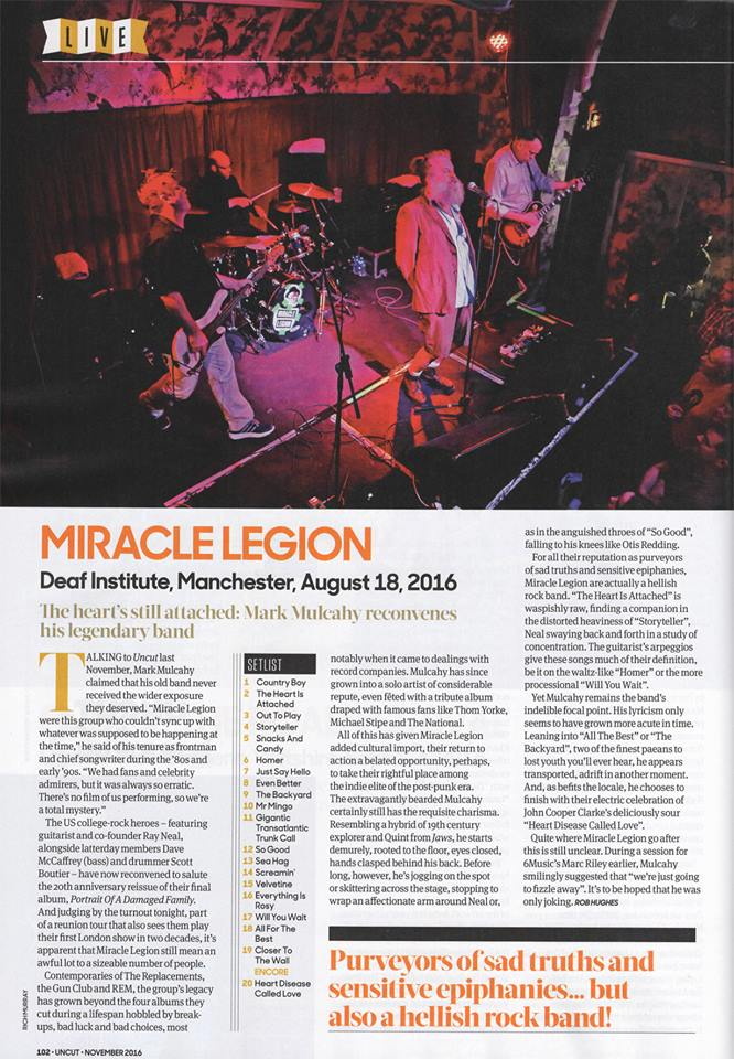 UNCUT Magazine (UK) Live Review from Manchester - November 2016