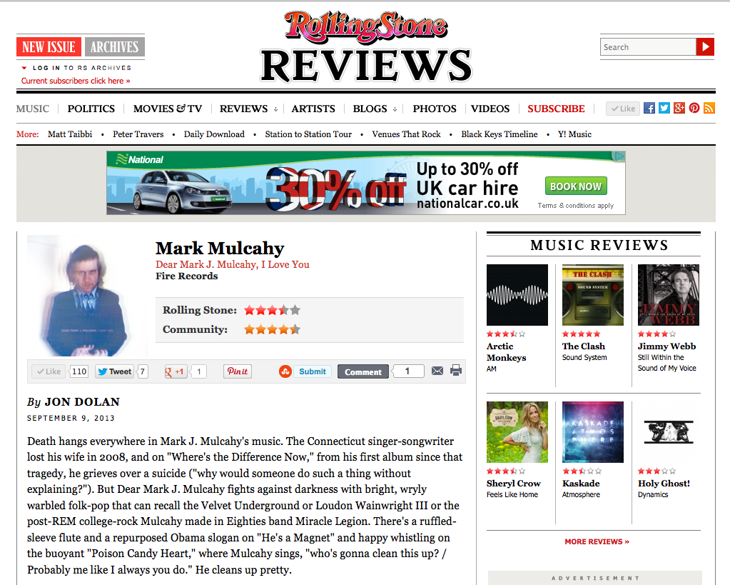 Rolling Stone  review, September 2013.    Read it here.
