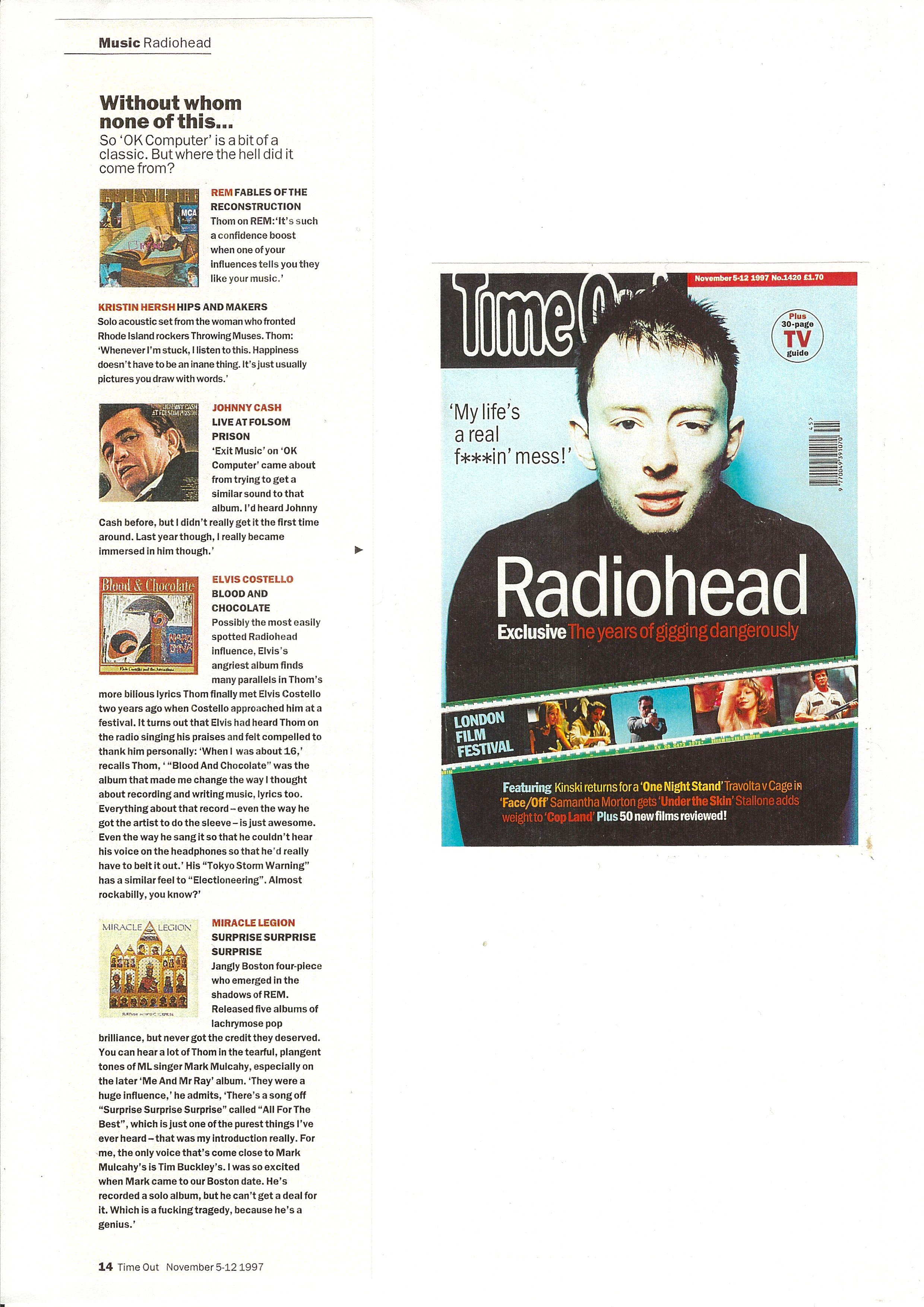 TIME OUT Magazine feature on Thom Yorke November 1997