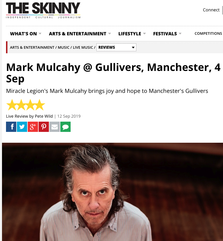 The Skinny, review of 4 September 2019 show at Gulliver's, Manchester UK.    Read it here.
